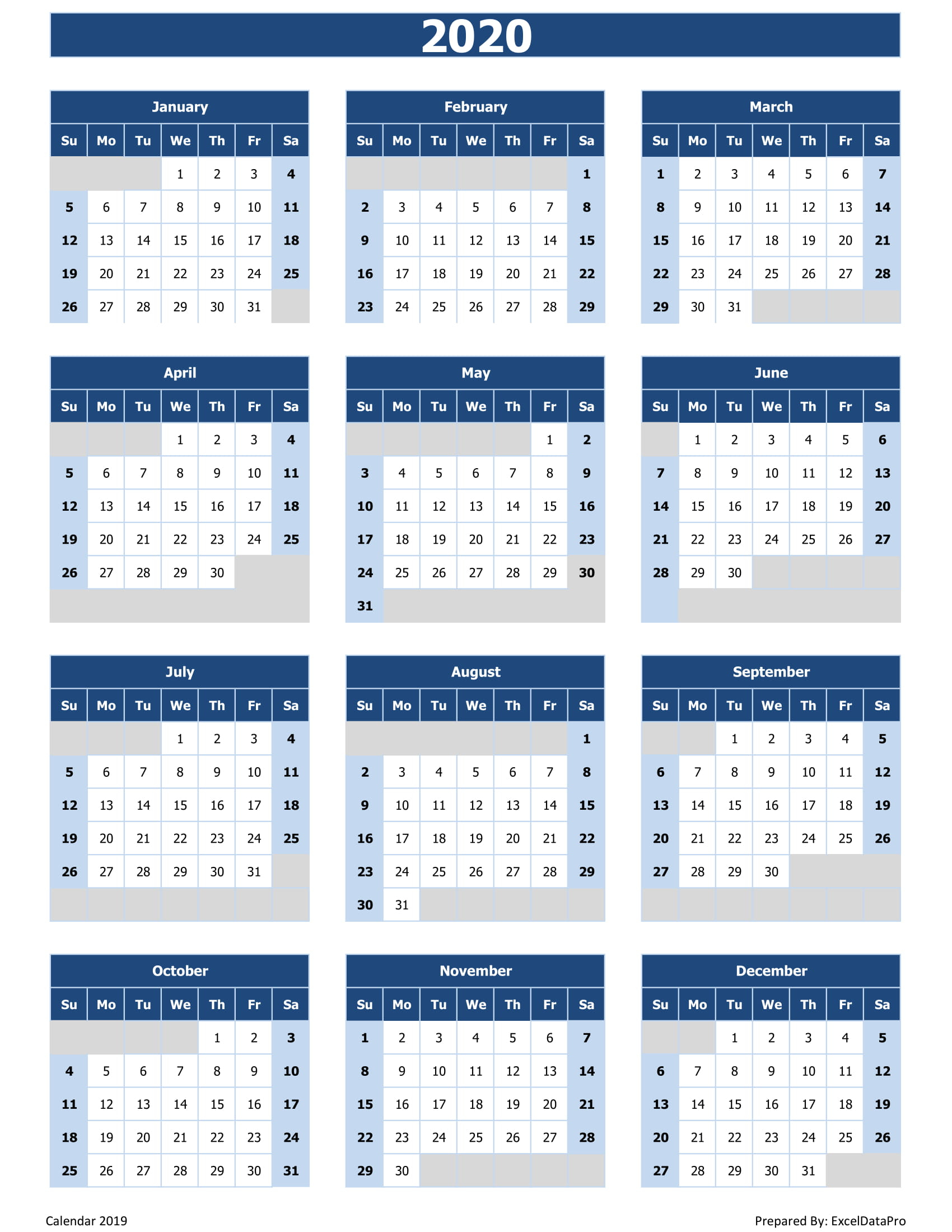 2020 Calendar Excel Templates, Printable Pdfs & Images with Kalendar Excel 2020