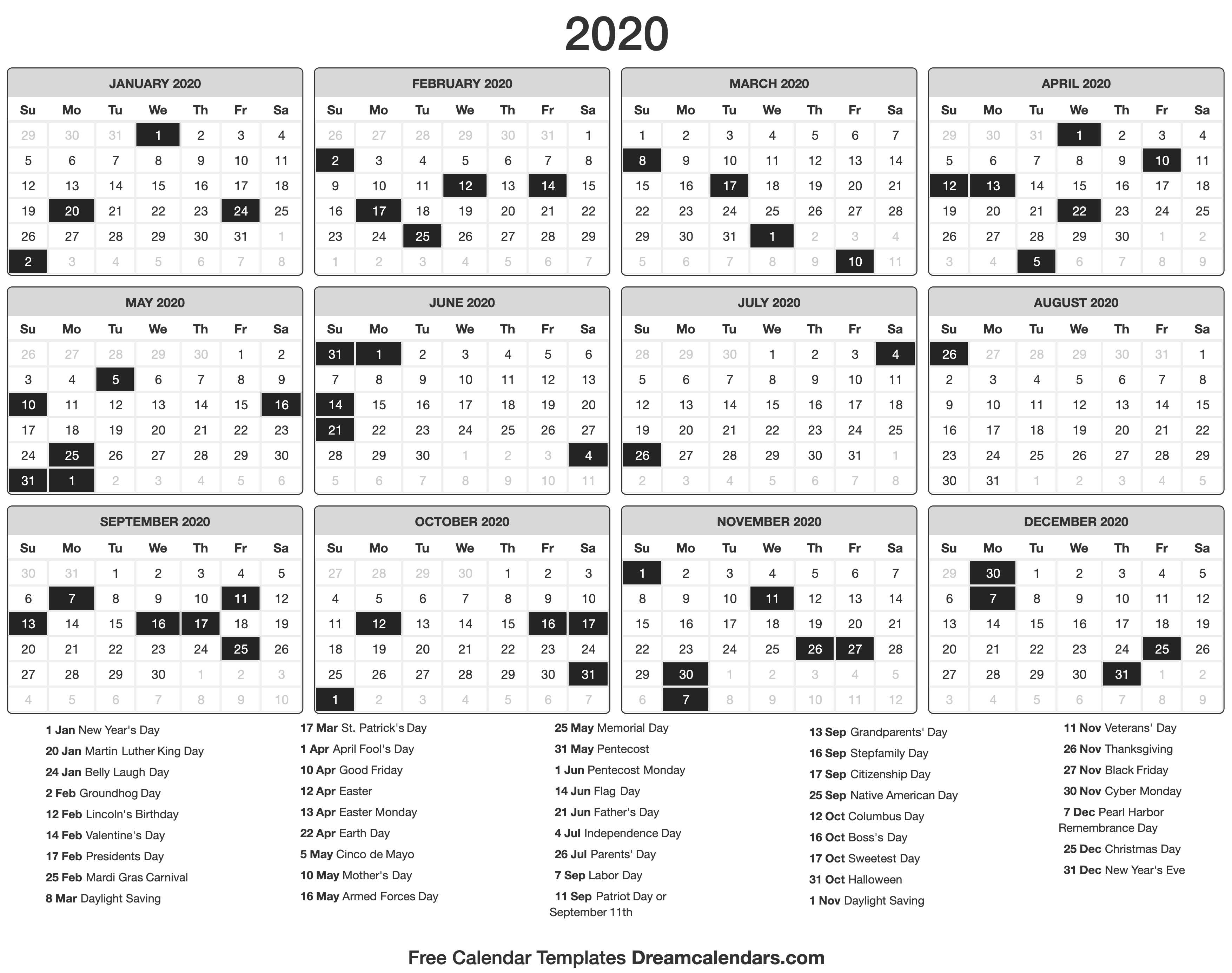2020 Calendar for September Thru December 2020 Calendar