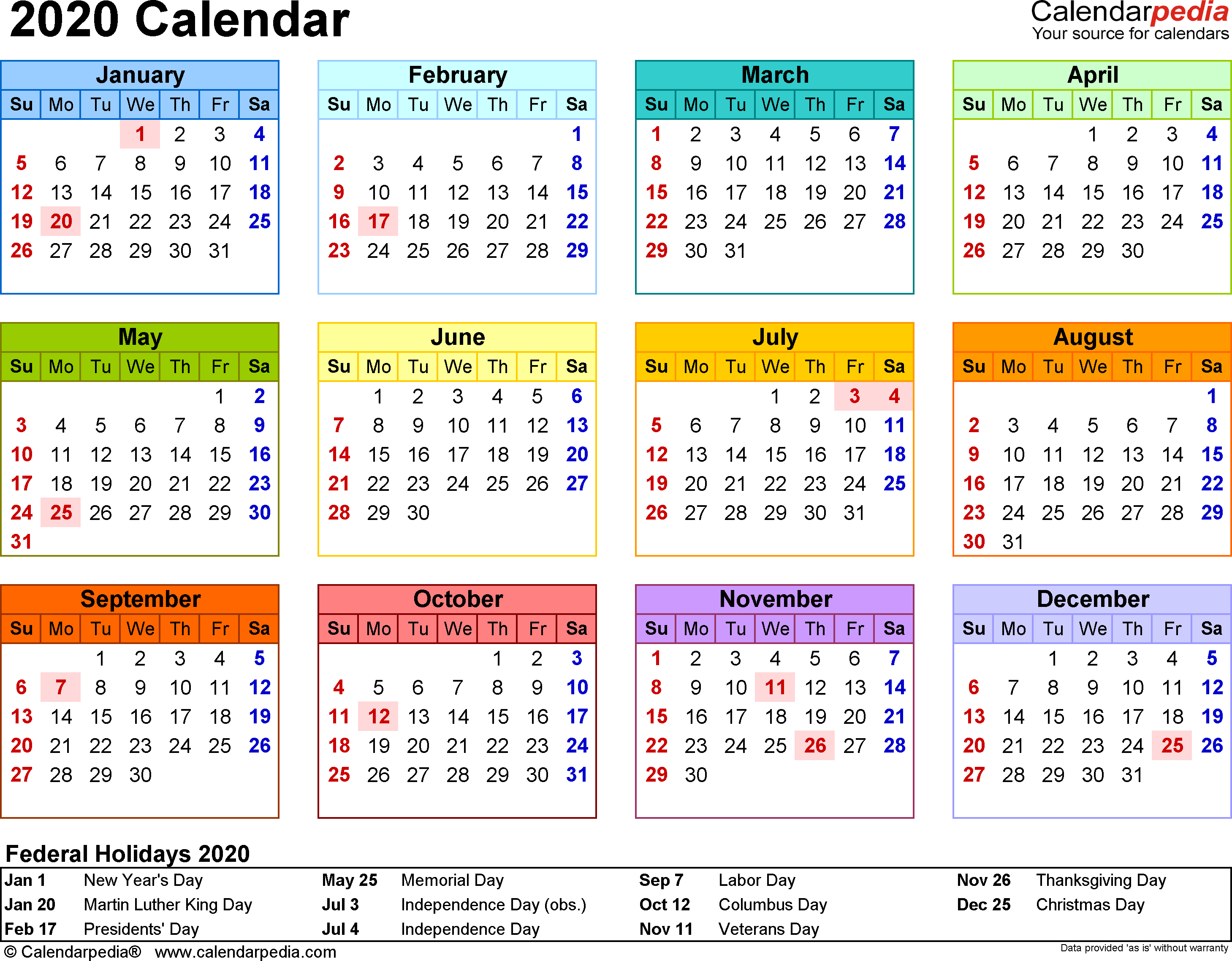 2020 Calendar  Free Printable Microsoft Word Templates in School Calendar 2020 South Africa Pdf