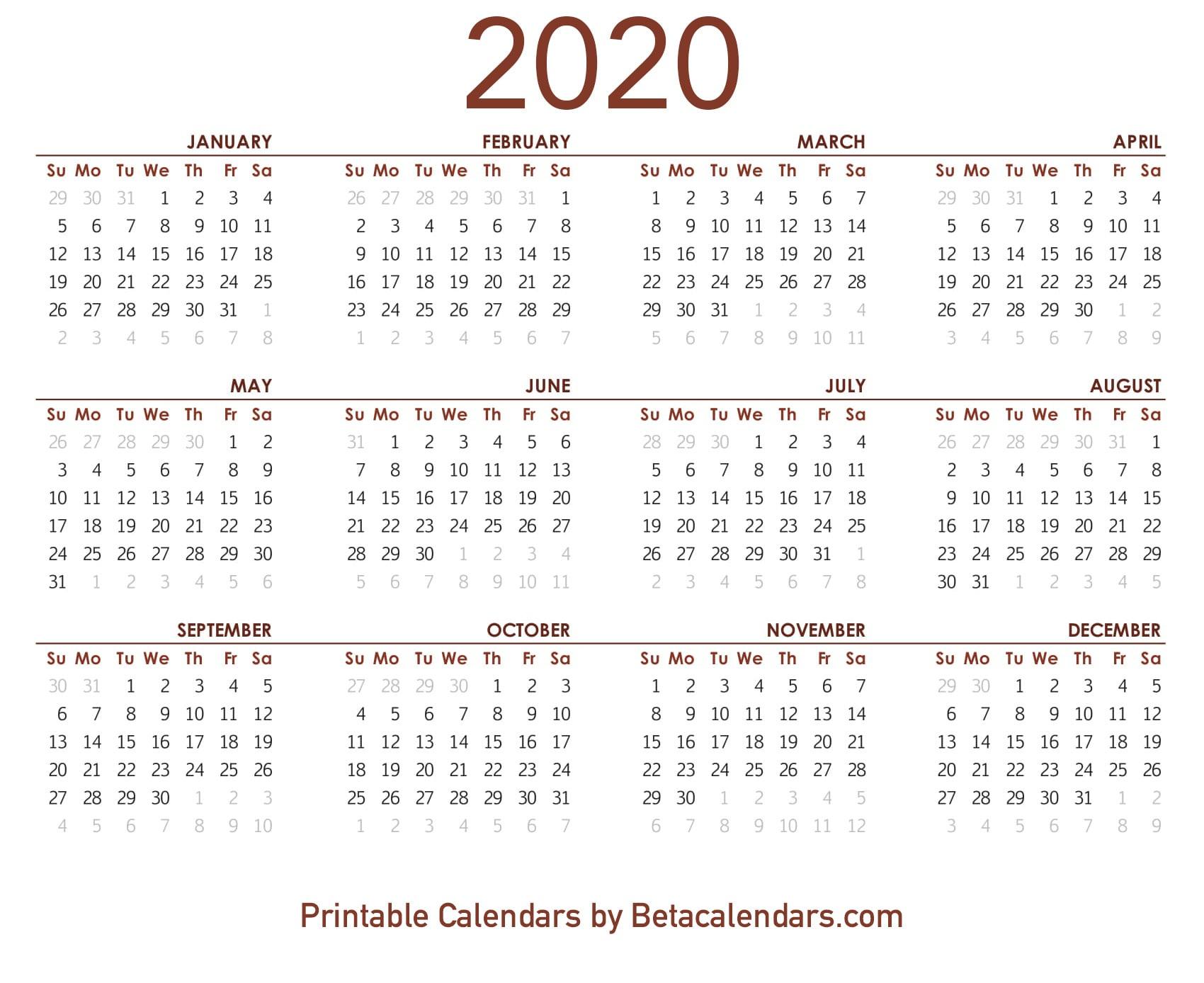2020 Calendar  Free Printable Yearly Calendar 2020 for November 2020 Calendar Beta Calendars
