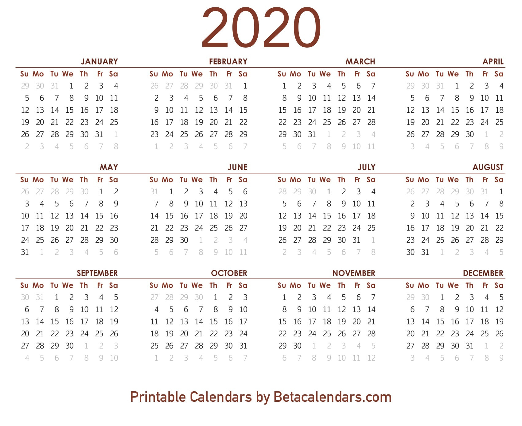 2020 Calendar  Free Printable Yearly Calendar 2020 intended for December 2020 Calendar Beta Calendars