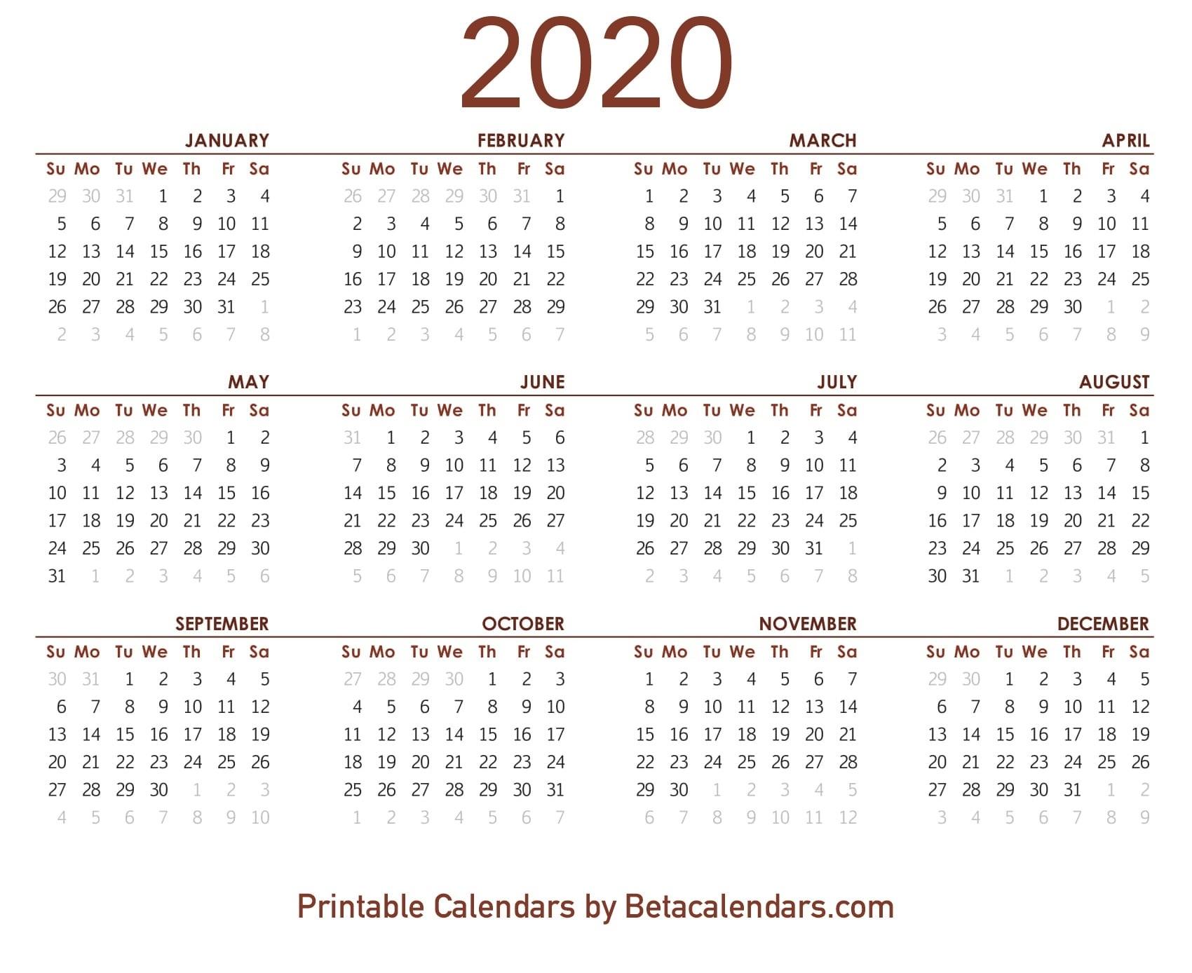 2020 Calendar – Free Printable Yearly Calendar 2020Blank 6 pertaining to Free Printable 6 Month Calendar
