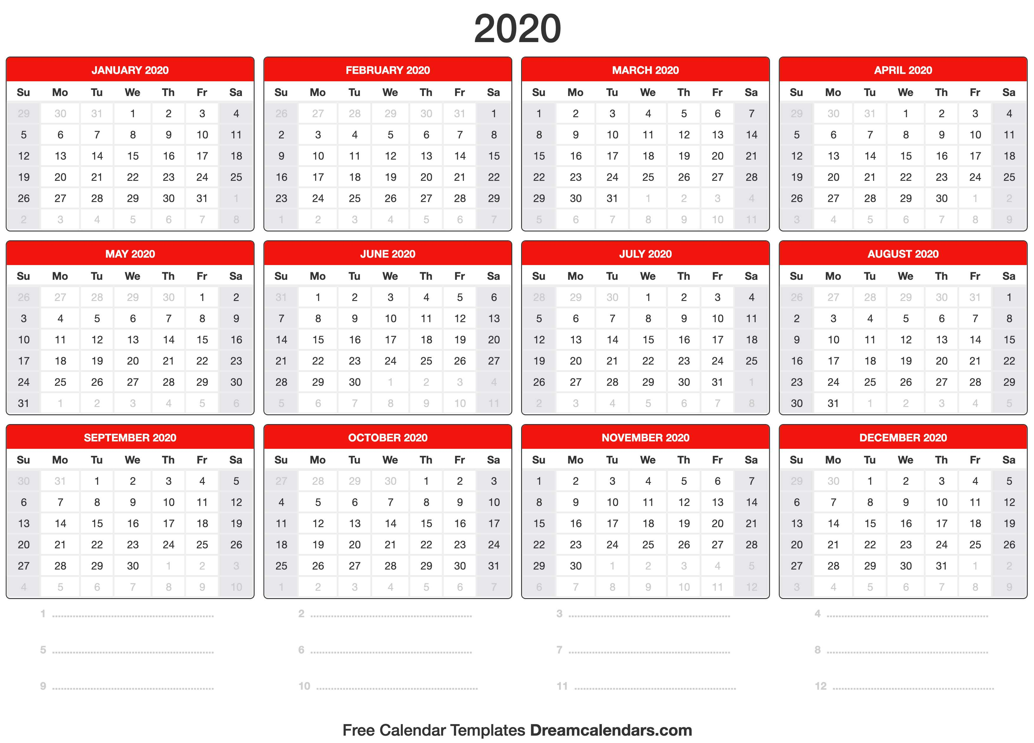 2020 Calendar pertaining to Printable 2020 Wallet Calendar