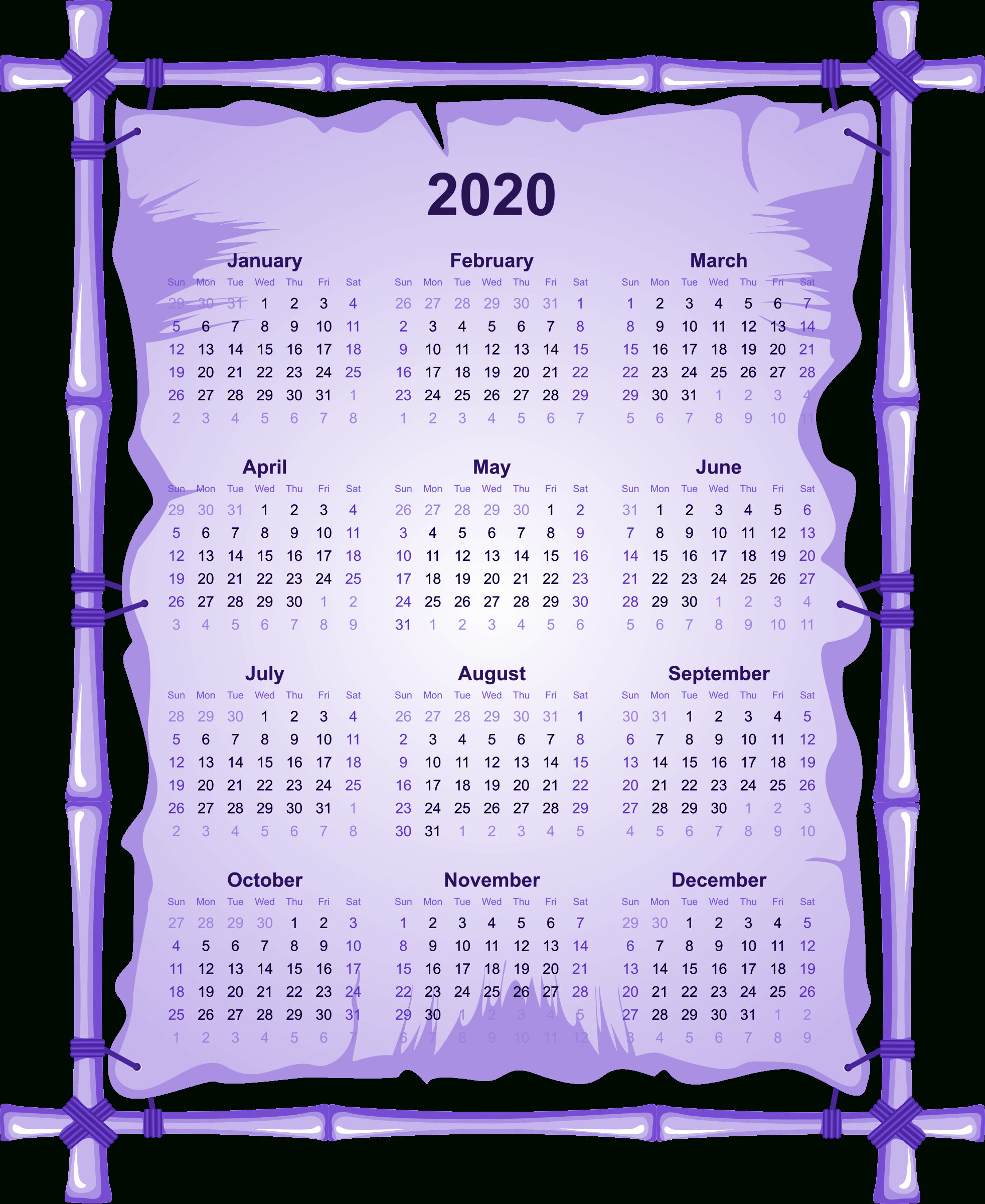 2020 Calendar Png Transparent Images | Png All intended for November Calendar 2020 Transparent