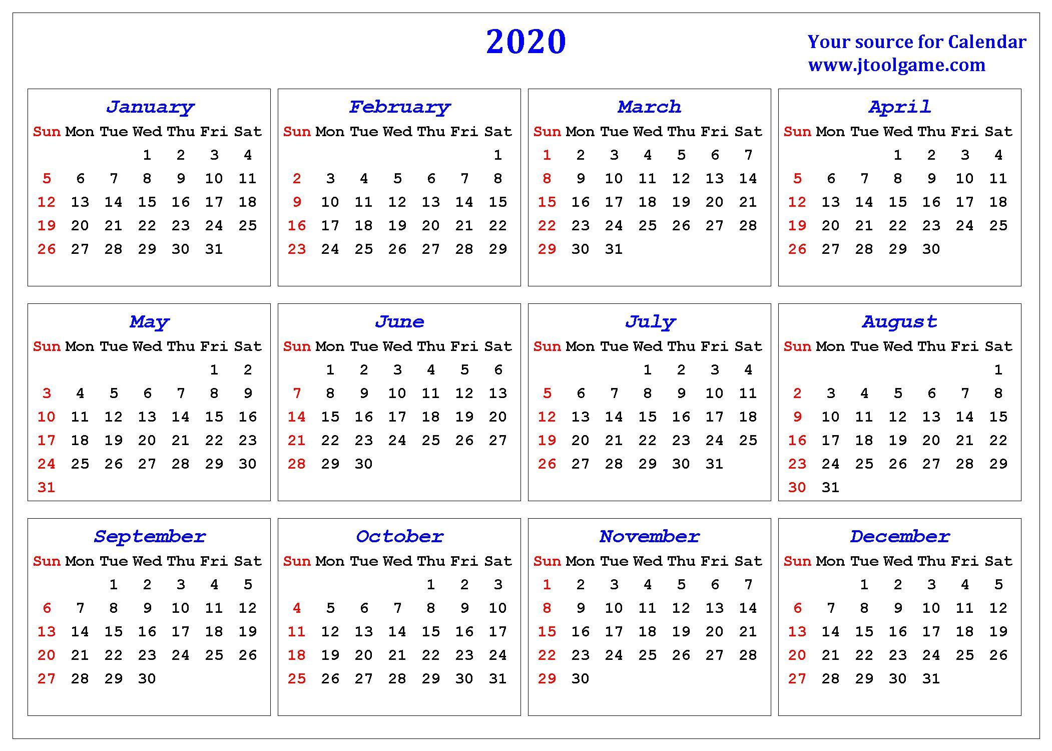 2020 Calendar  Printable Calendar. 2020 Calendar In inside Calendar Martie 2020