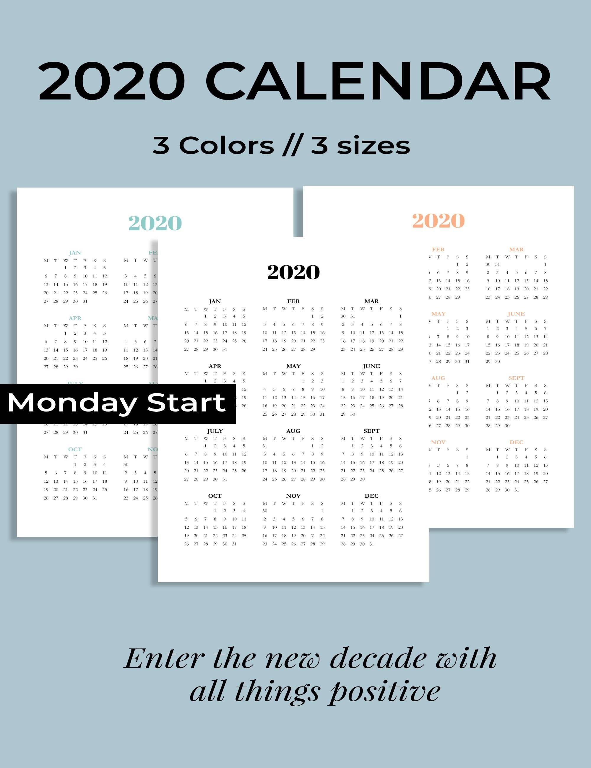 2020 Calendar Printable, Monday Start 2020 Calendar, Year At within 2020 Year At A Glance Printable