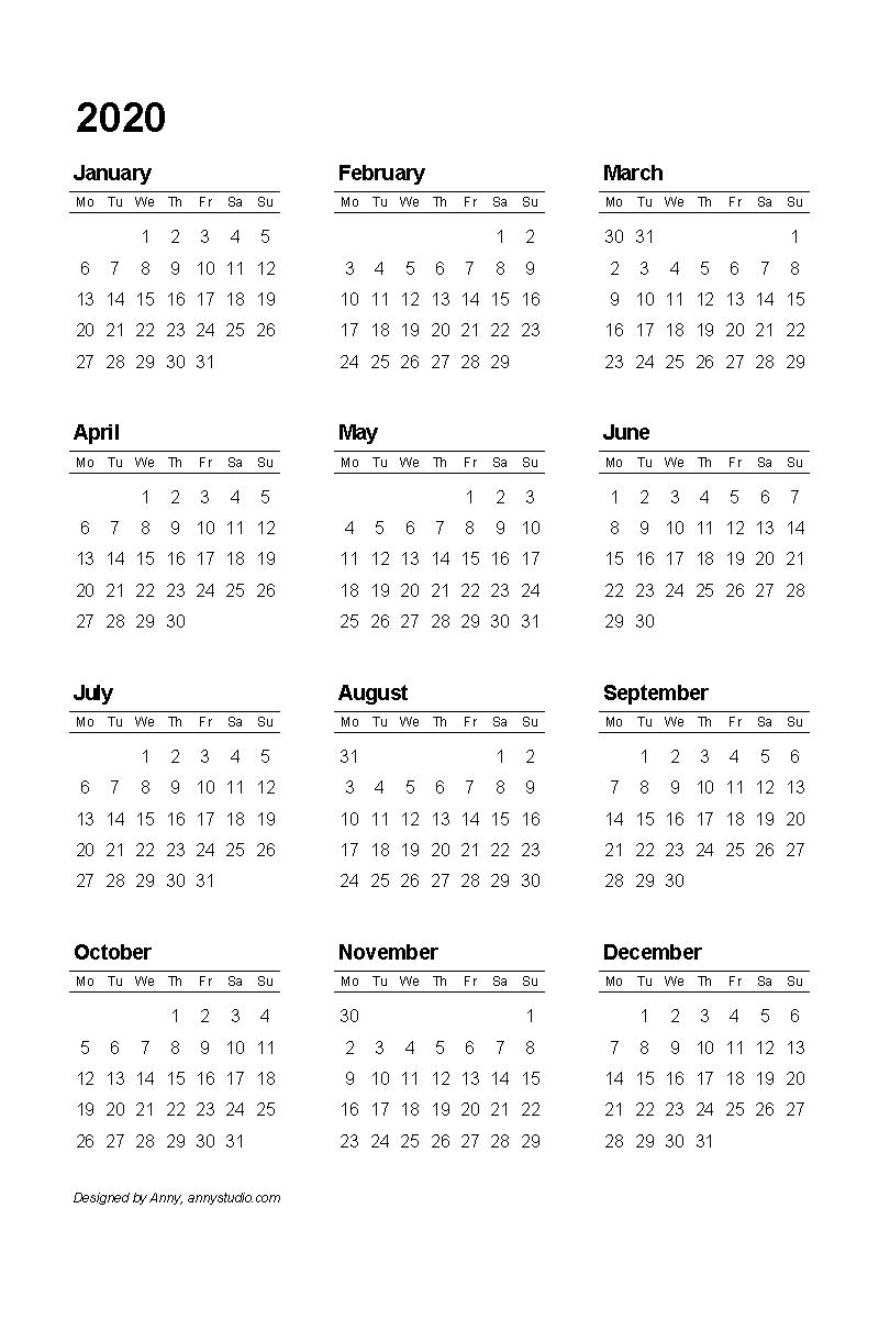 2020 Calendar Printable Monday Start | Monthly Printable throughout Printable 2020 Calendar Starting Monday