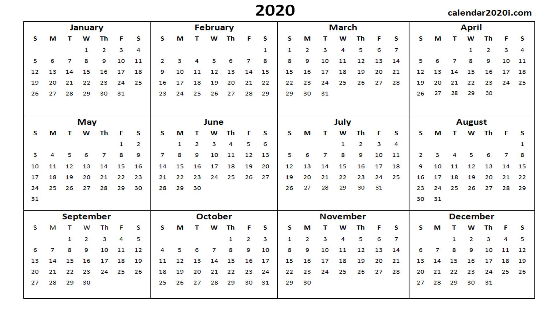 2020 Calendar Printable Template Holidays, Word, Excel, Pdf throughout Printable Calander 2020