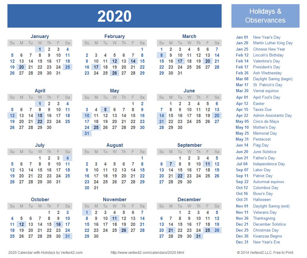 2020 Calendar Prints For Planning! | Printable Calendar for Calendar Printing Services Philippines