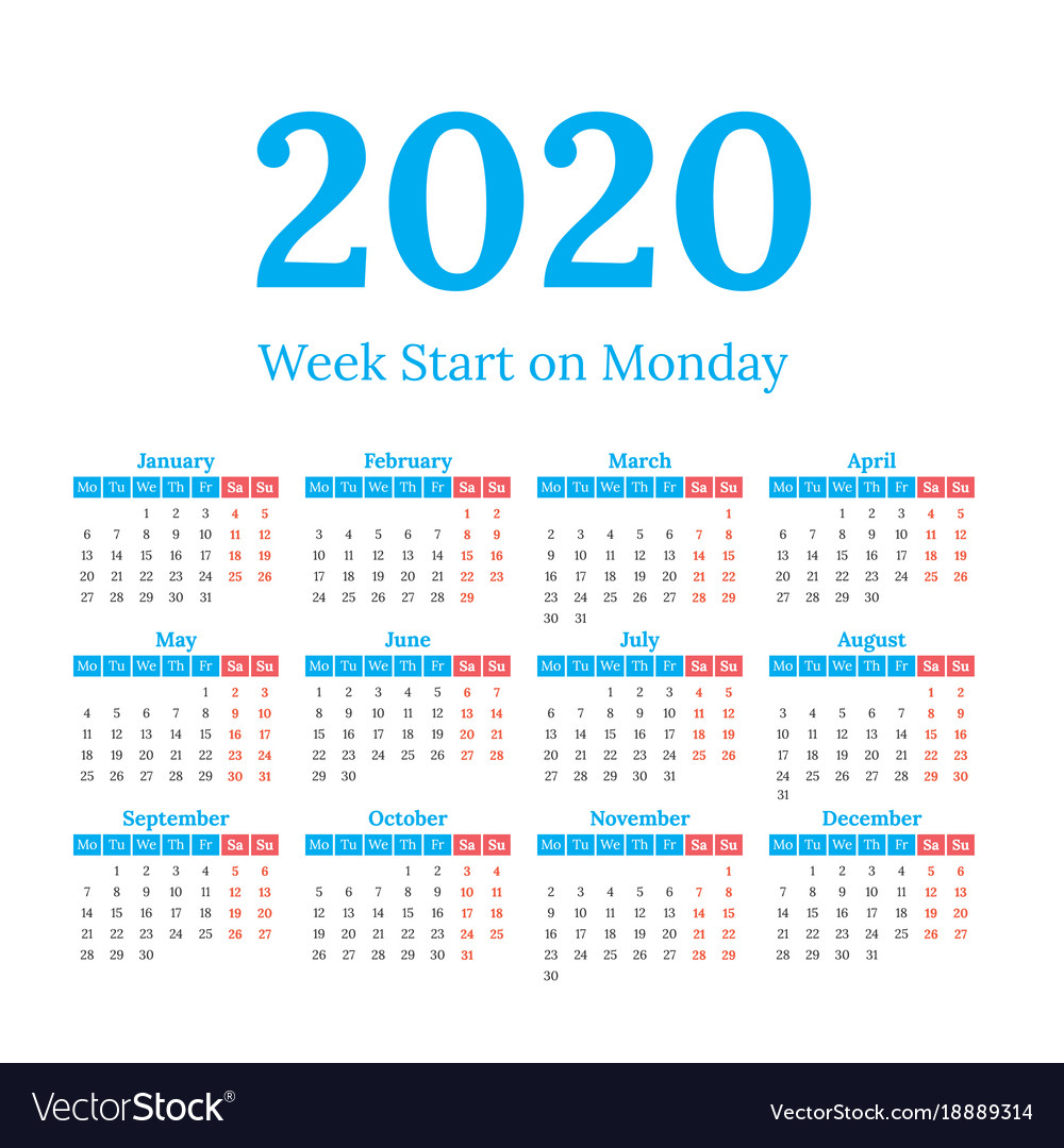 2020 Calendar Start On Monday with regard to 2020 Calendar Mondays