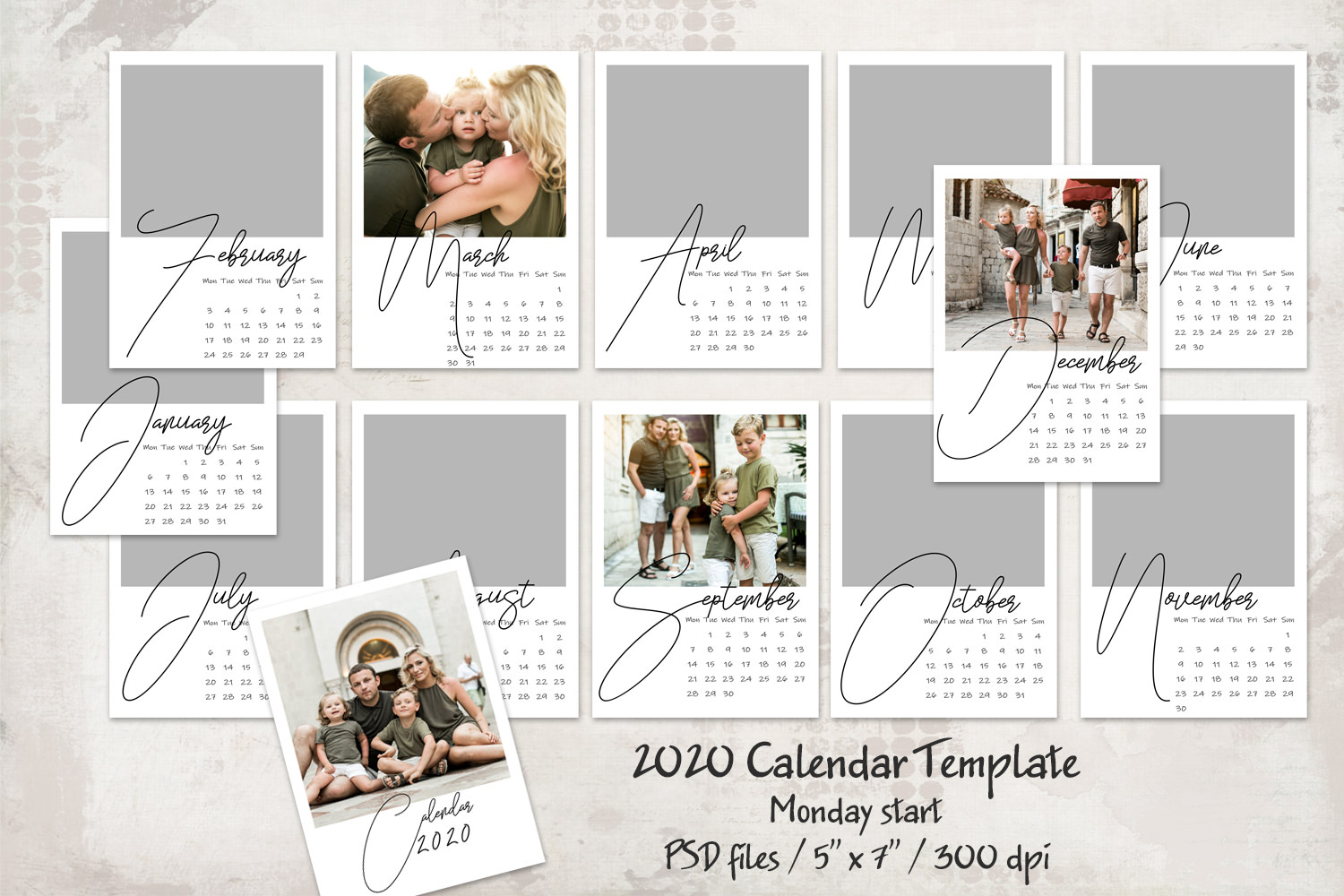 2020 Calendar Template  Monday Start  5X7 regarding 2020 Calendar Psd File