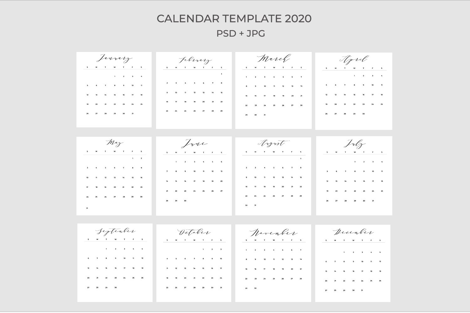 2020 Calendar Template Psdjpgpdf | Easy To Edit inside 2020 Calendar Psd File