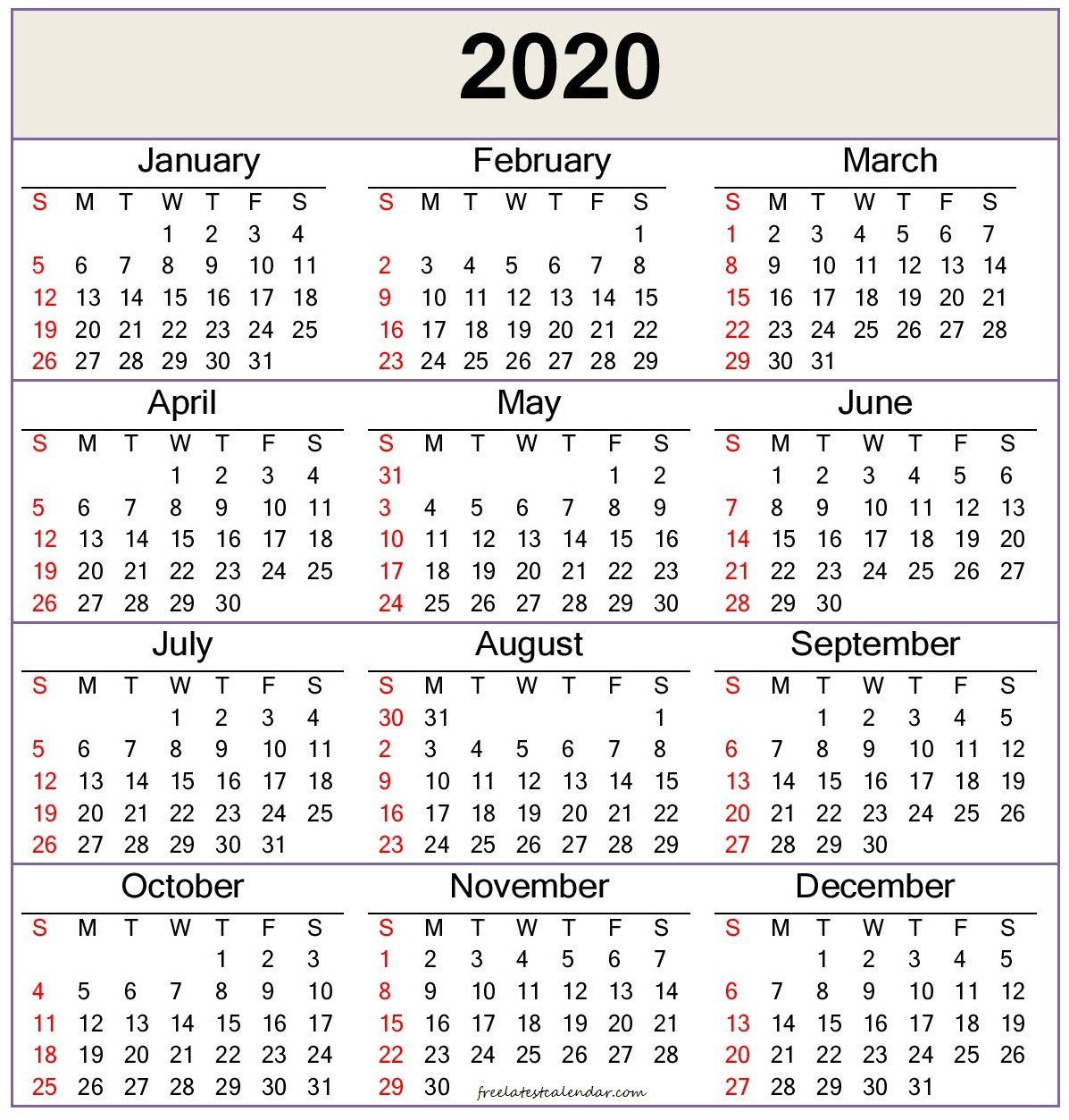 2020 Calendar Template — Word, Pdf  Freelatest Calendar intended for Word Calendar Template 2020