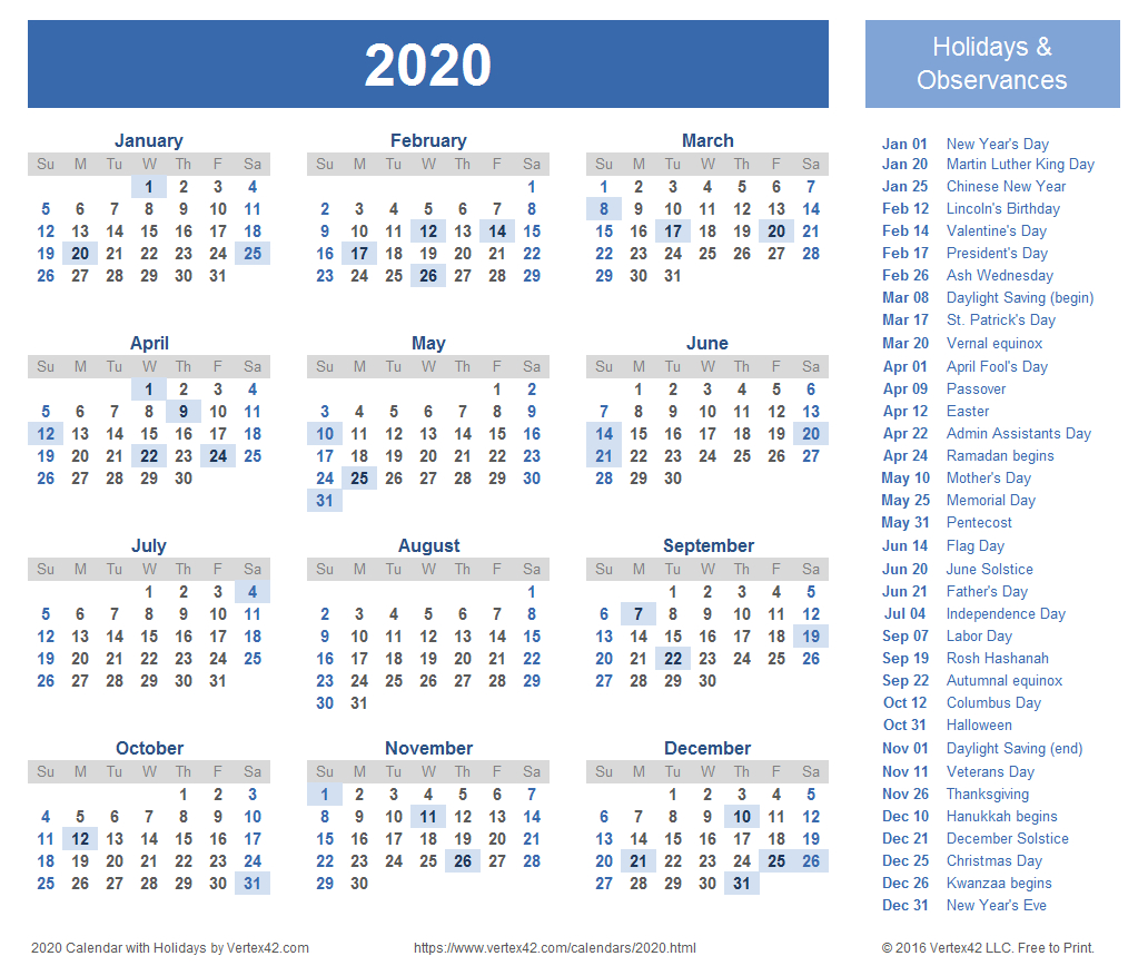 2020 Calendar Templates And Images in Vertex42 Monthly Calendar