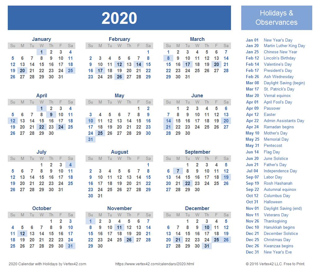 2020 Calendar Templates And Images pertaining to Vertex Calendar 2020