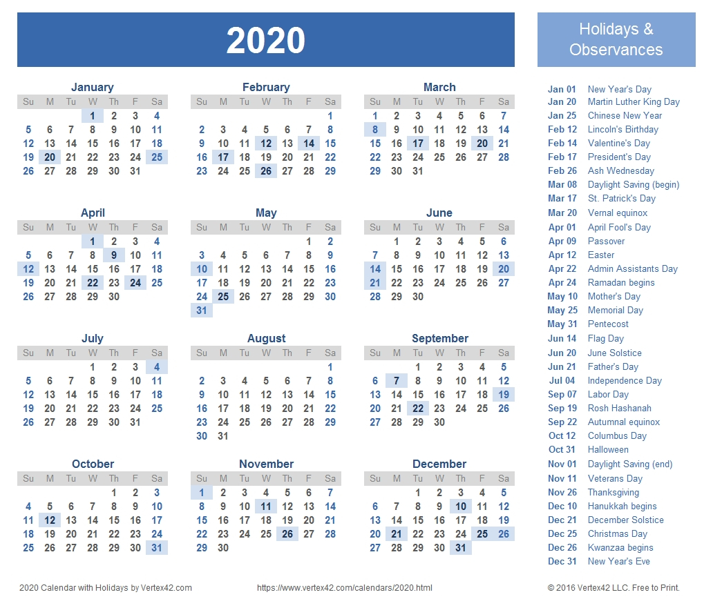 2020 Calendar Templates And Imagestemplates By Vertex42 intended for Vertex Calendar 2020