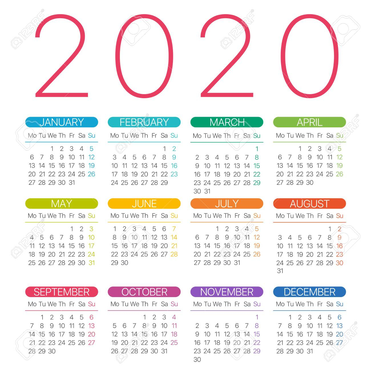 2020 Calendar Thin Line  Monday To Sunday  Vector Template for 2020 Calendar Mondays