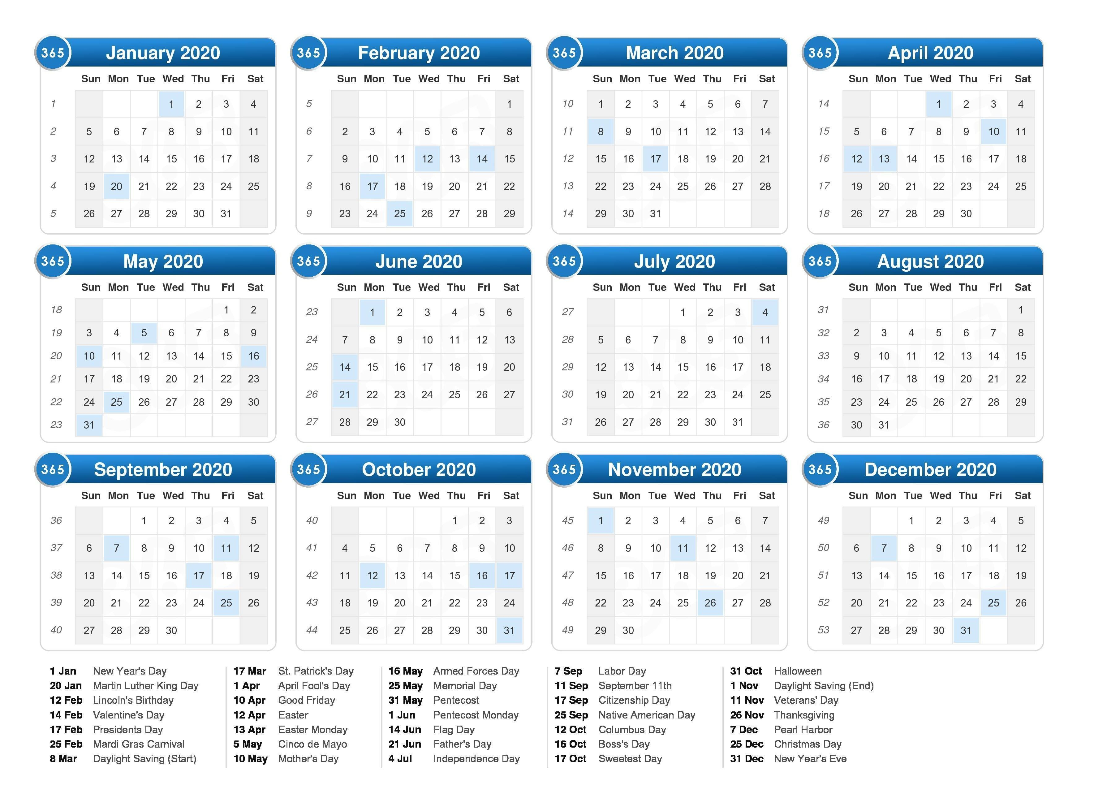 2020 Calendar With Holidays | Free Printable Calendar in 2020 Calendar Hk Excel