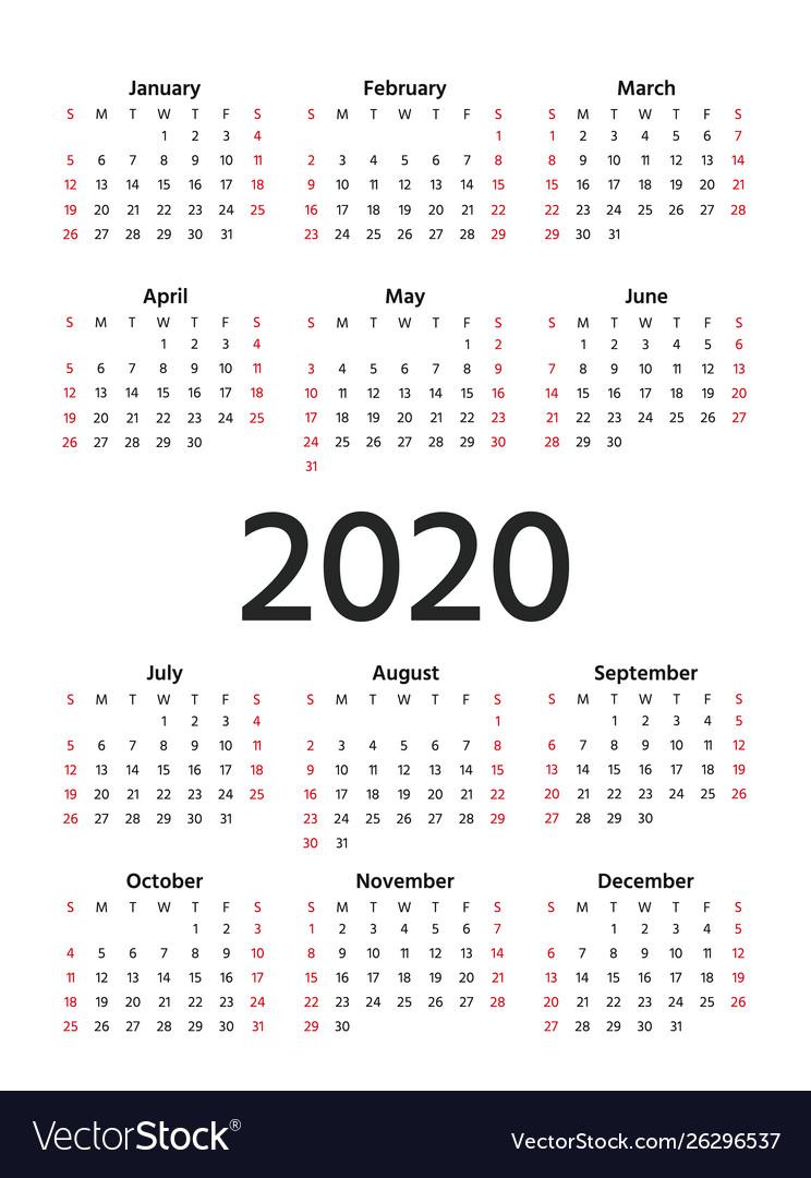2020 Calendar Year Template Planner in 2020 Calendar Vector Free