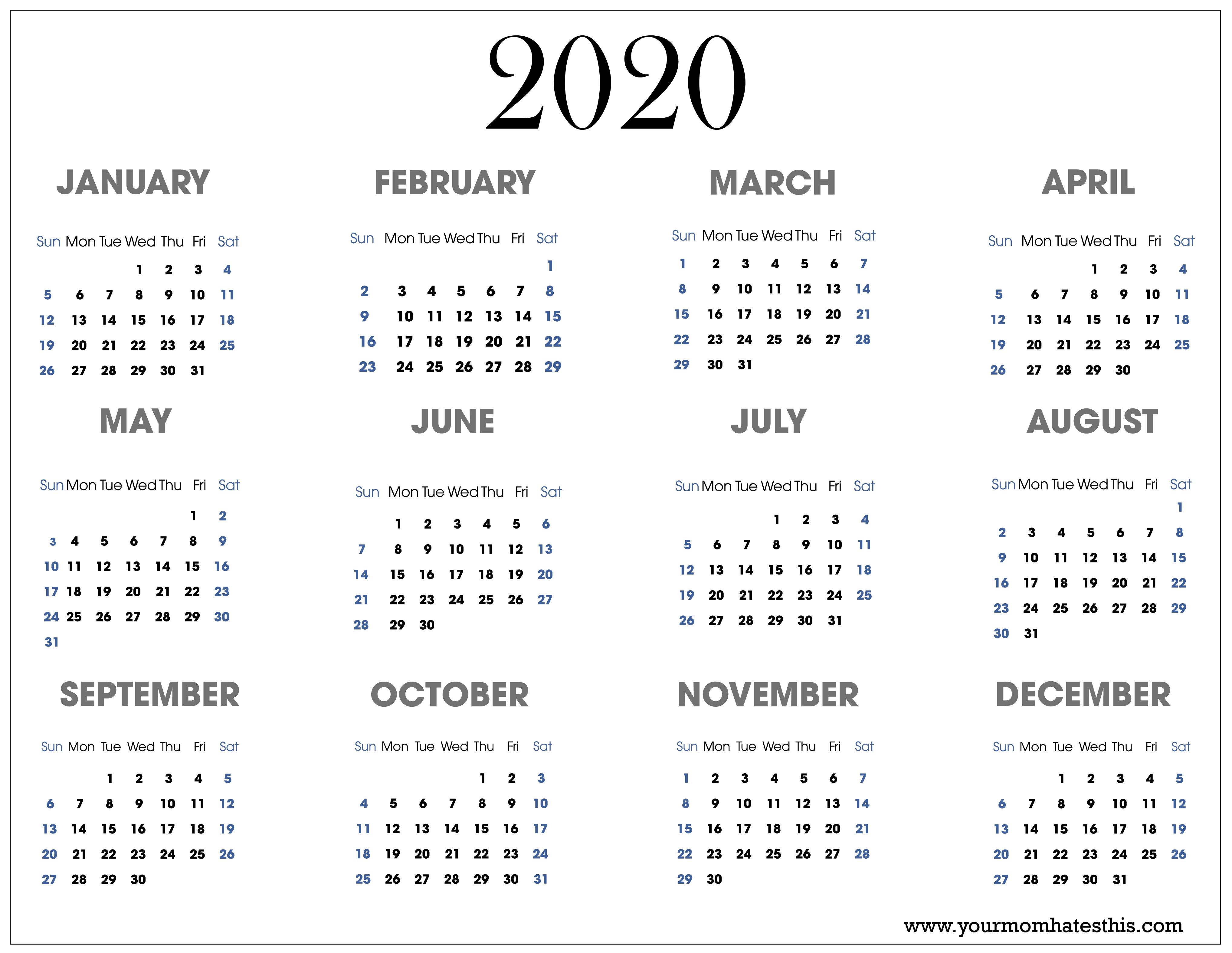 2020 Calendars In Pdf  Download Templates Of Calendar 2020 in Printable 2020 Calander