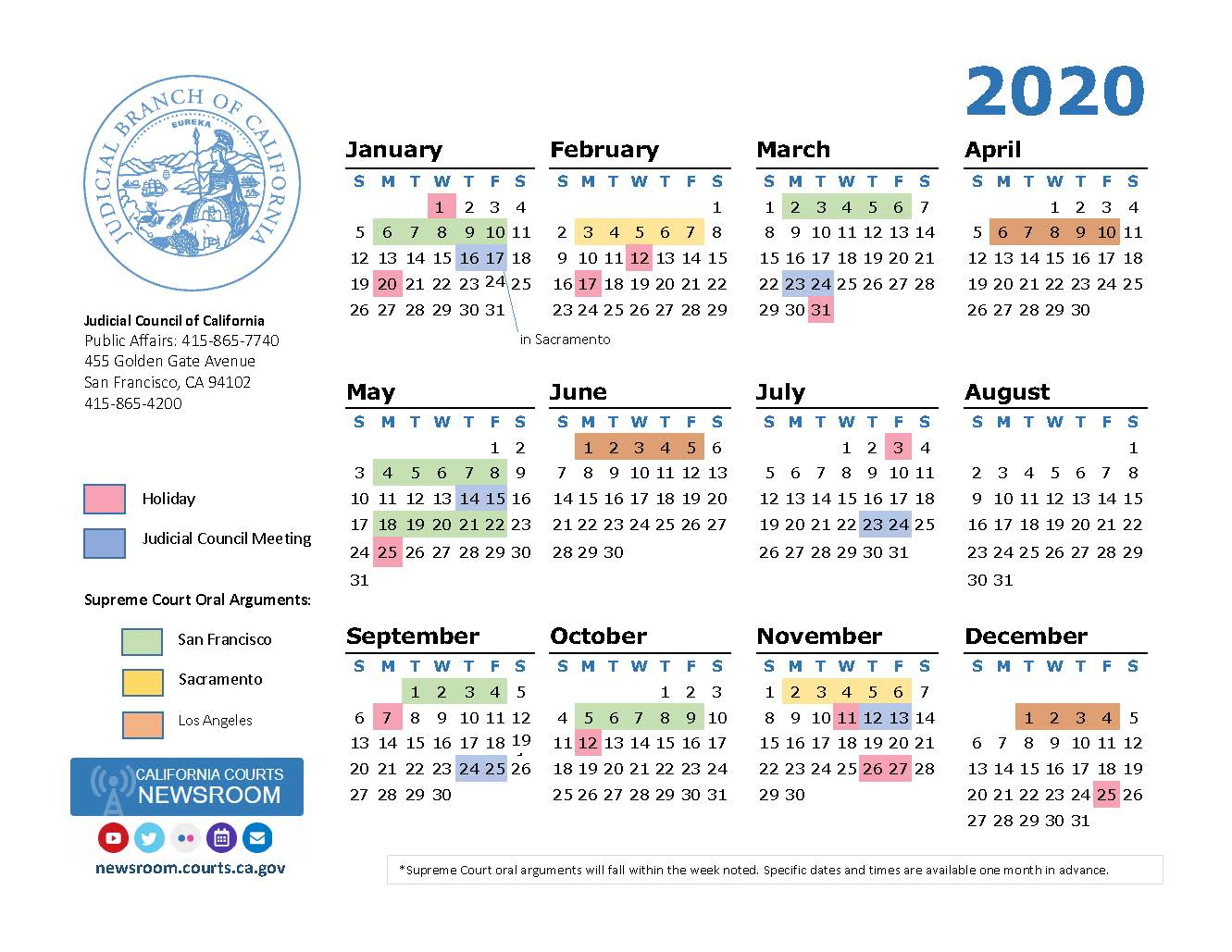 2020 California Courts Calendar | California Courts Newsroom regarding Uc Berkeley Calendar 2020