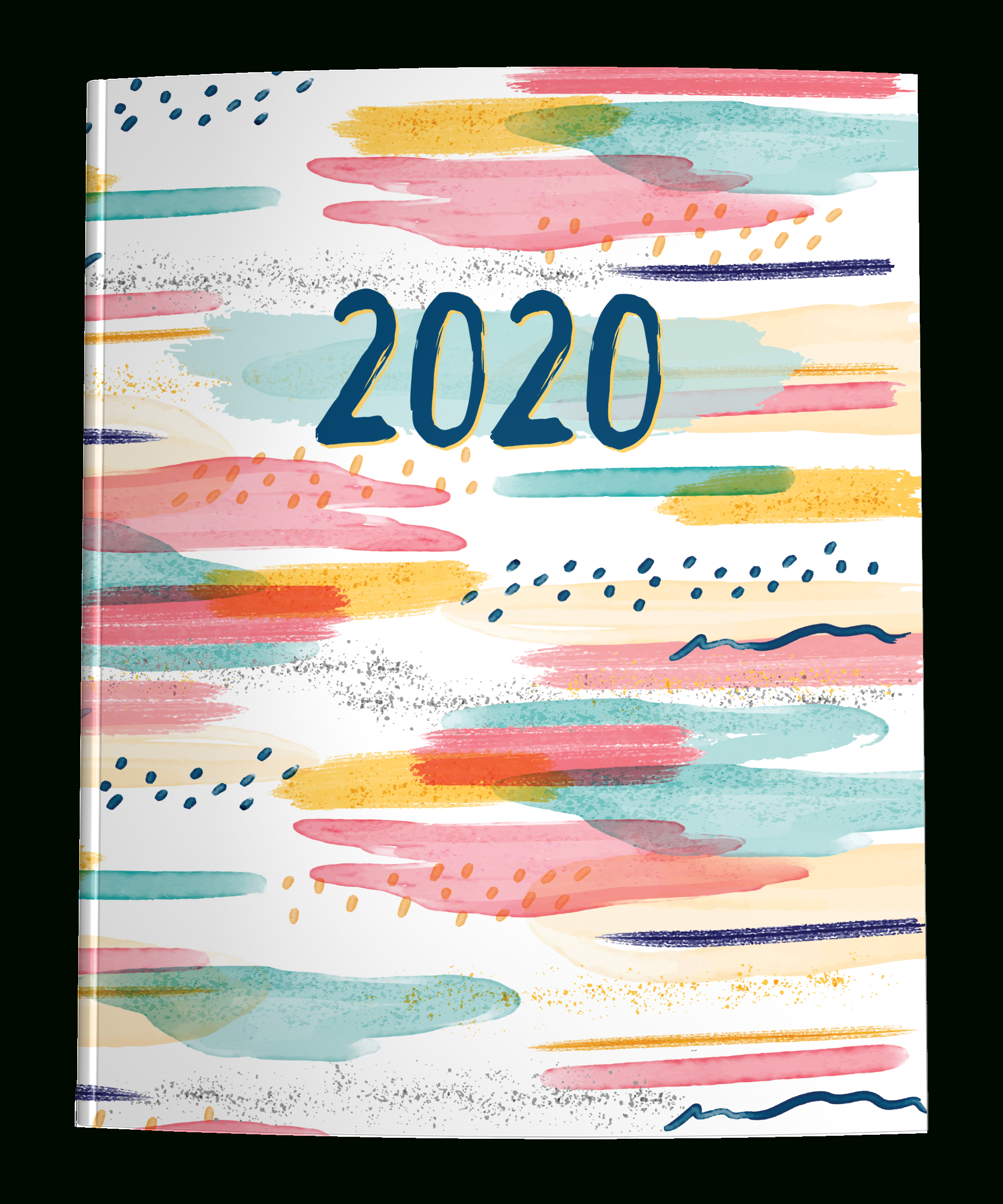 2020 Dated Planner With Graph + Dot Grid | Watercolor Abstract with regard to Monthly Calendar With Time Slots 2020