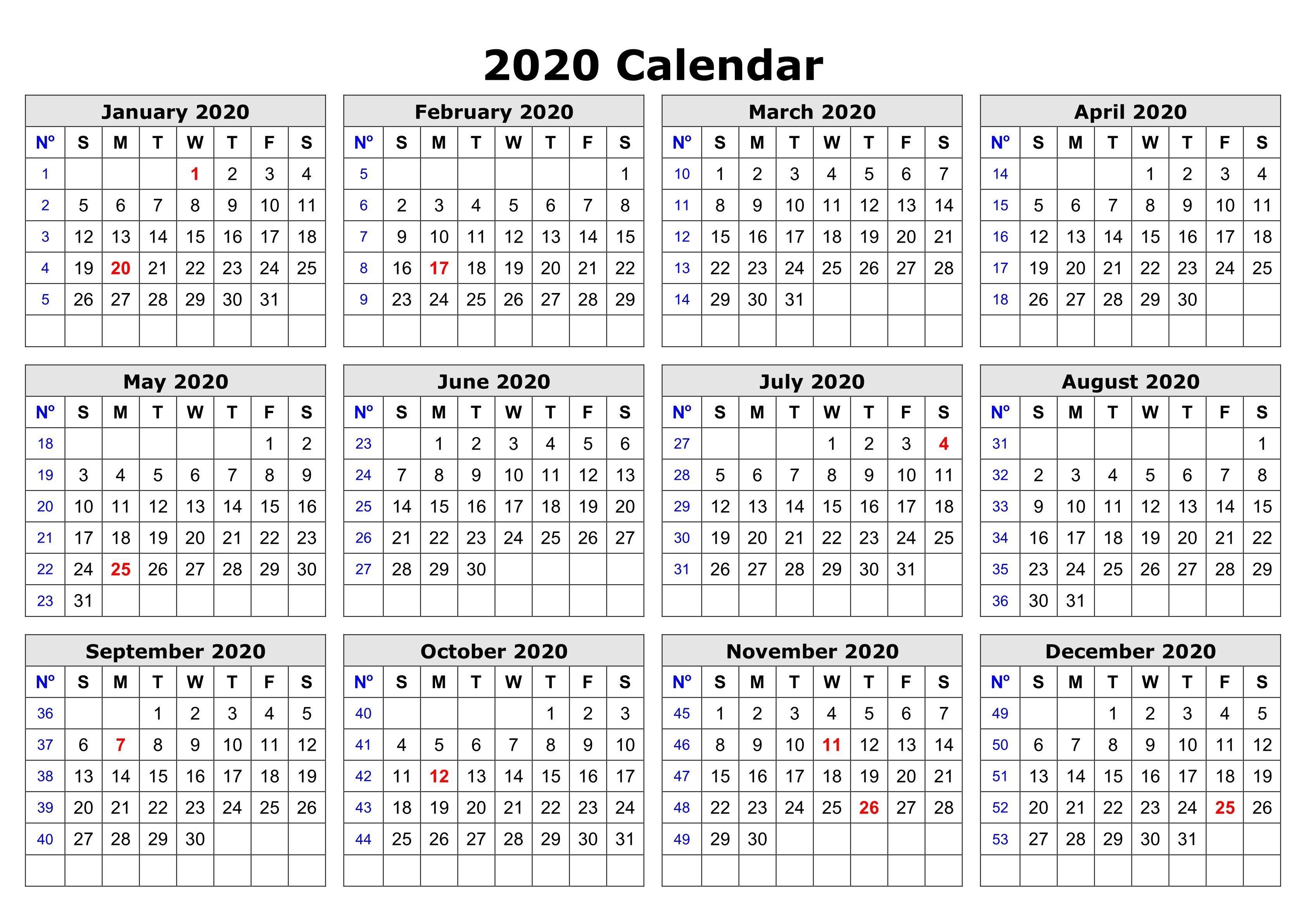 2020 E Page Calendar Printable Free January 2020 Printable within Printable 2020 Calander