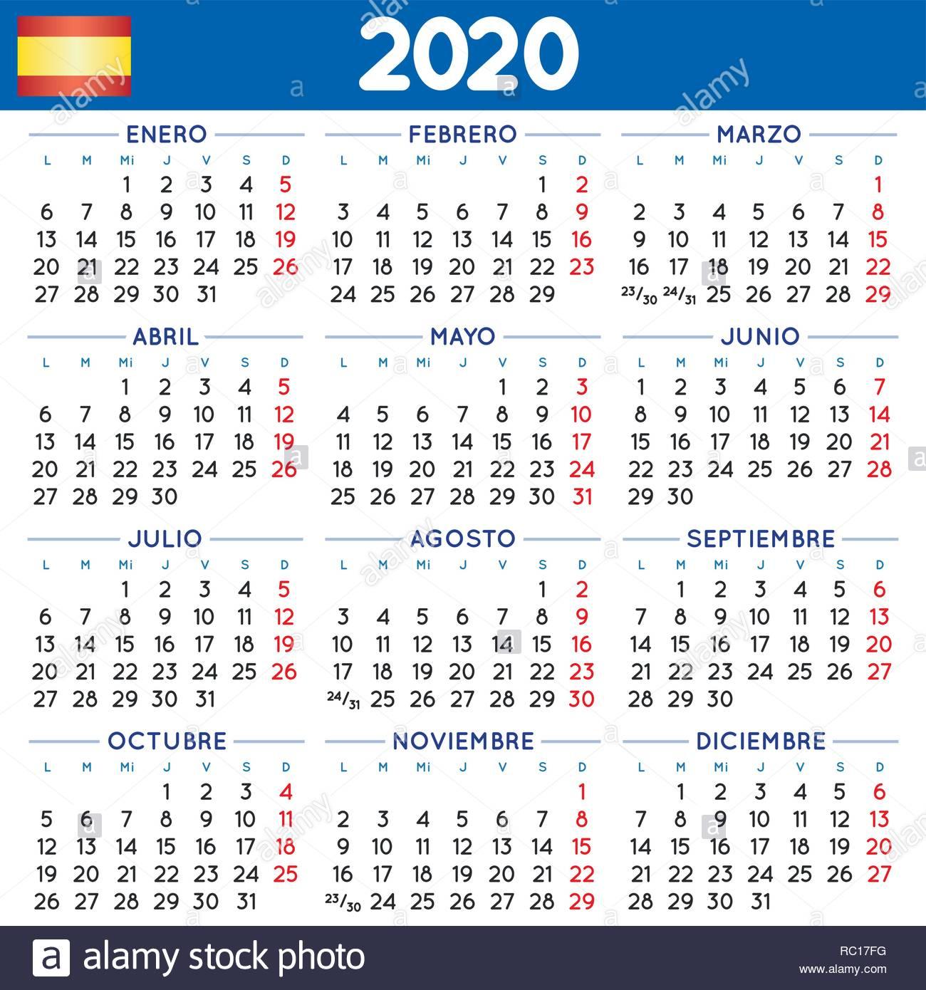 2020 Elegante Calendario Cuadrado En Español. Año 2020 with regard to Calendario 2020 Con Semanas