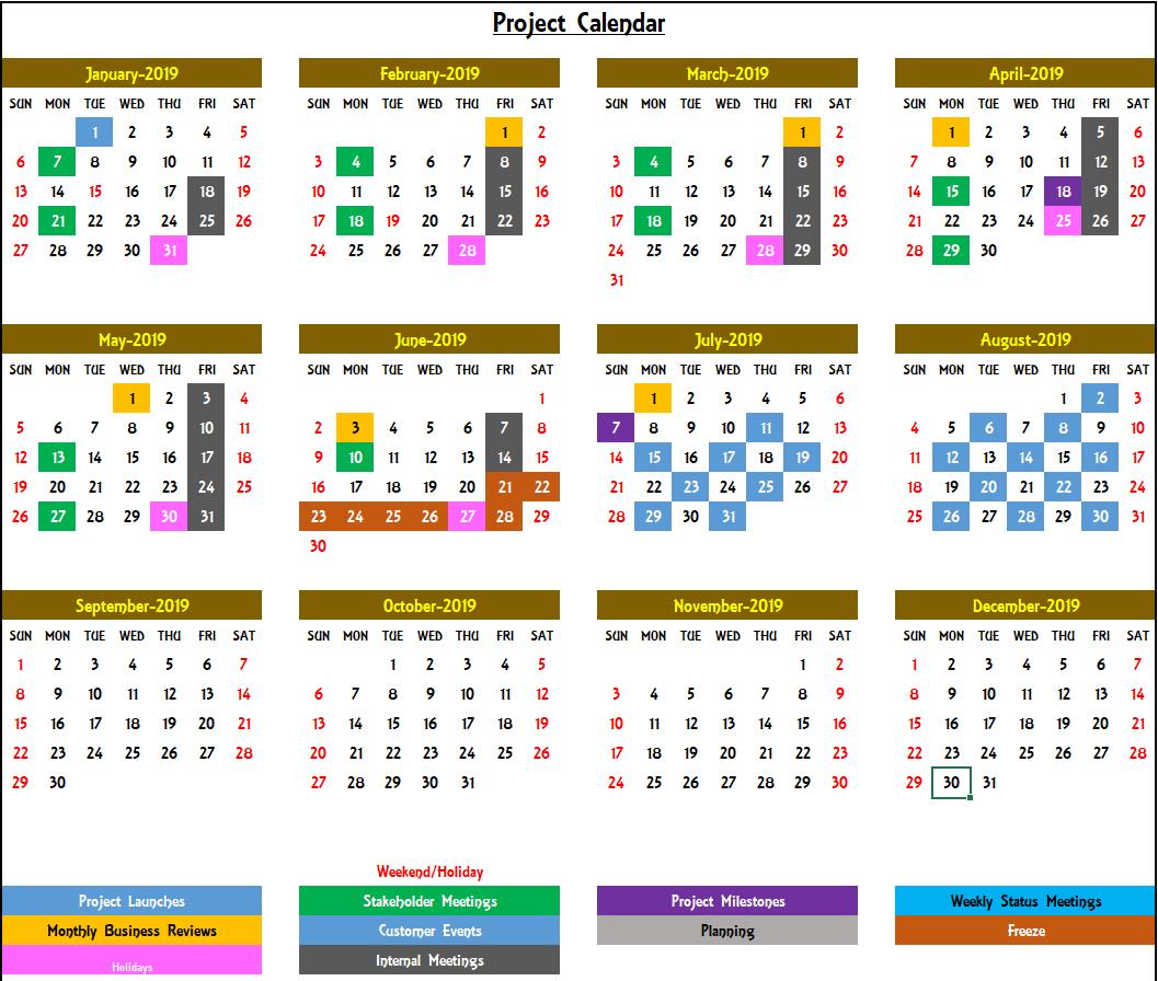 2020 Excel Calendar Template  Excel Calendar 2020 Or Any Year inside Annual Calendar Template Excel
