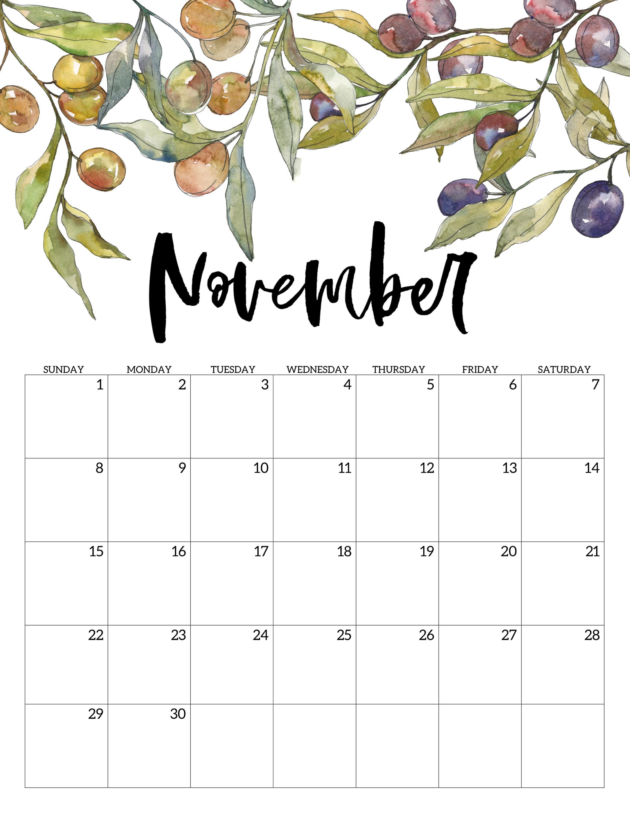 2020 Free Printable Calendar  Floral  Paper Trail Design throughout October & November 2020 Calendar