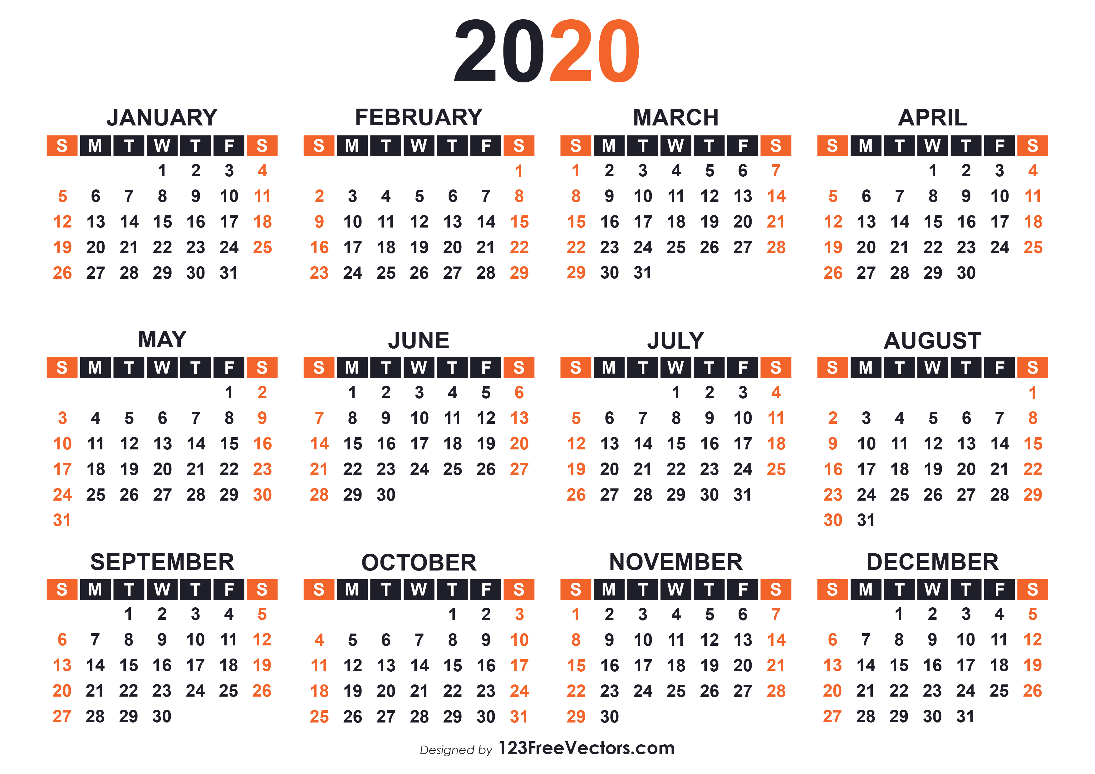 2020 Free Printable Calendar Templates in Printable Calander 2020