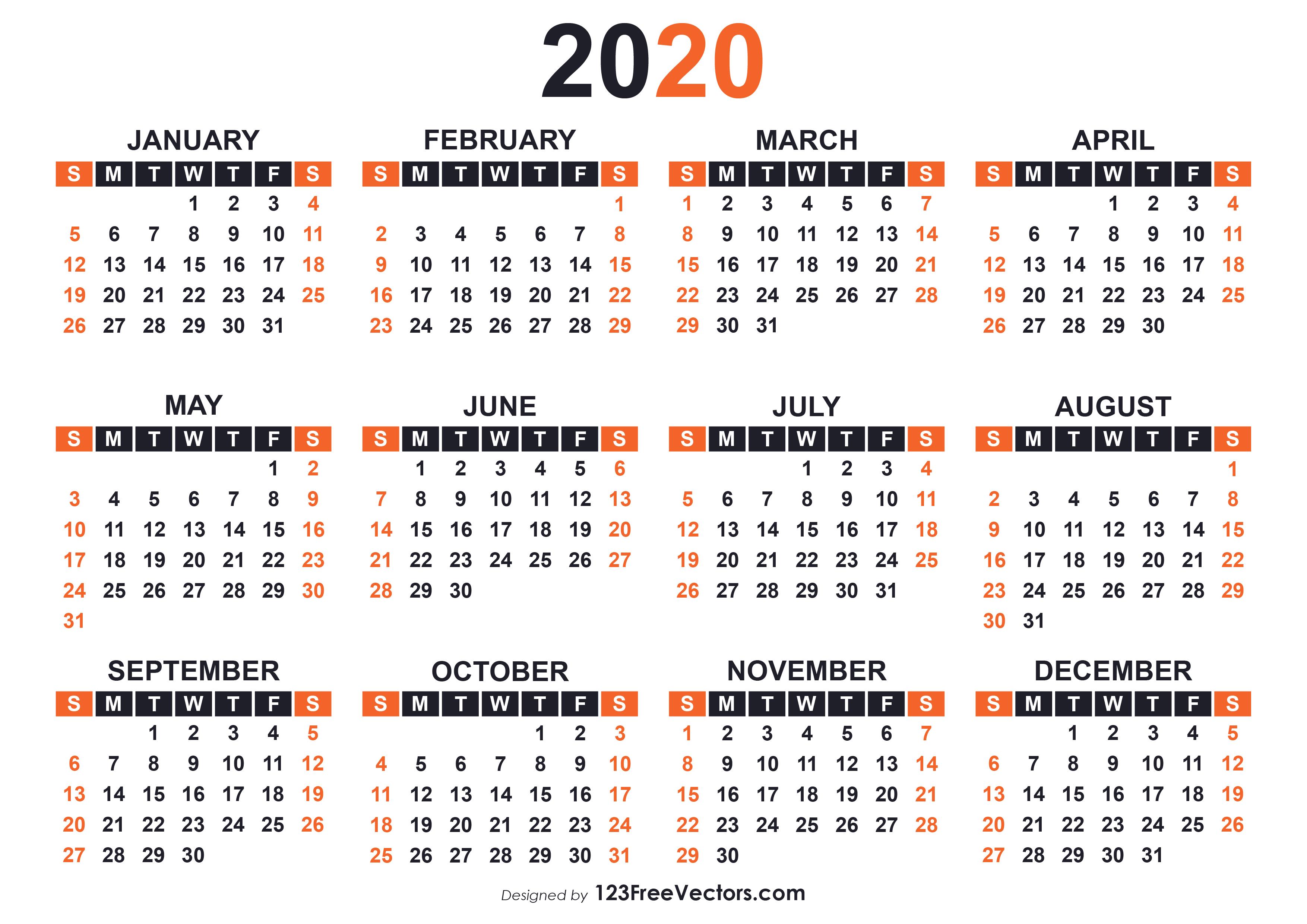 2020 Free Printable Calendar Templates with regard to Blank Calendar 2020 Printable