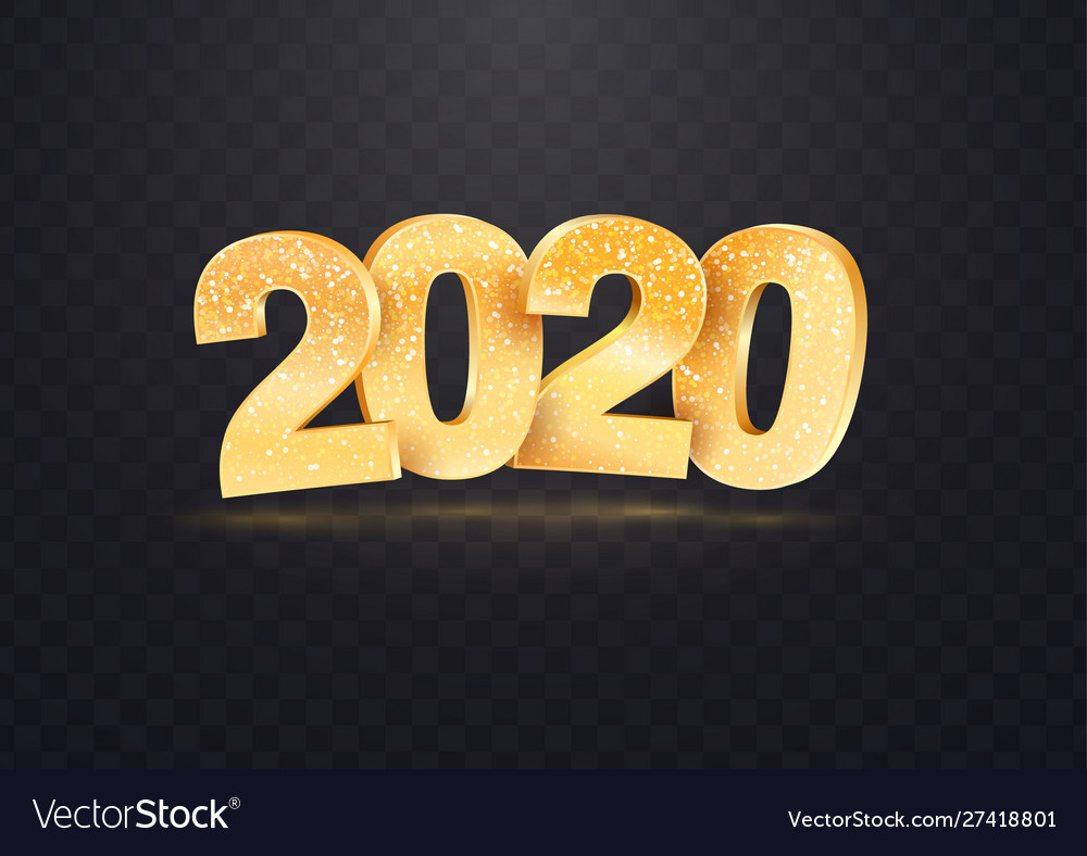 2020 Golden Numbers On Transparent within 2020 Transparent Background