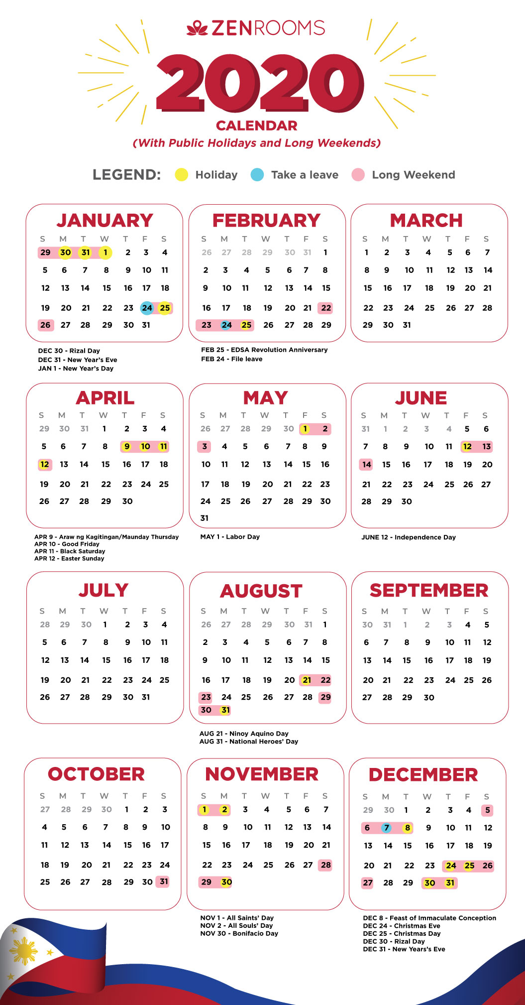 2020 Holiday Calendar Philippines: Travel Guide With Tips regarding Calendar Printing Services Philippines