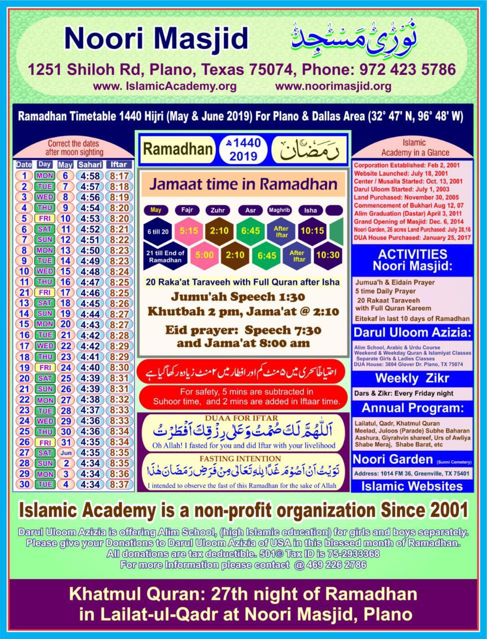 2020 Islamic Calendar For Indopak | Sunni Society within Isha Usa Calendar
