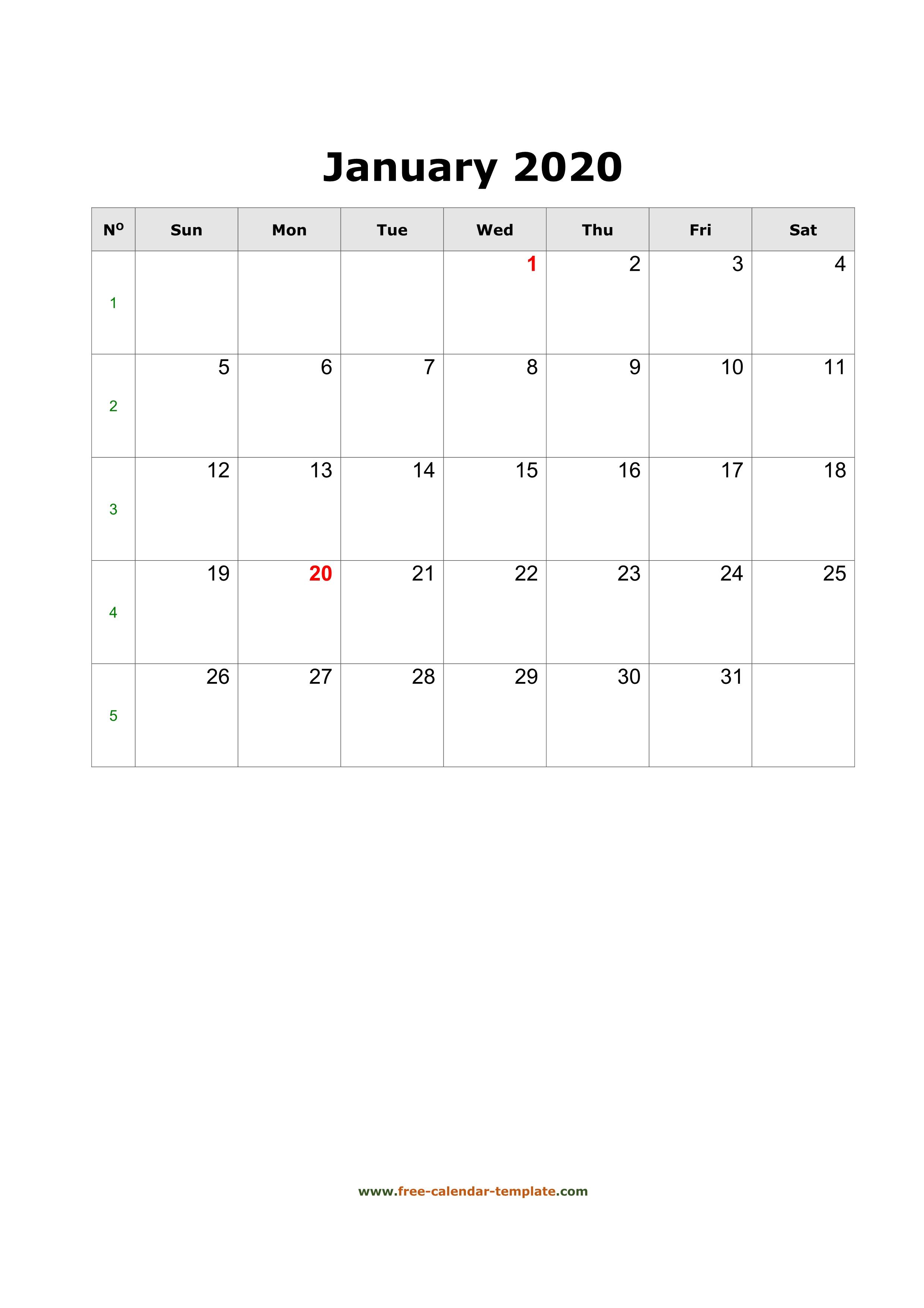 2020 January Calendar (Blank Vertical Template) | Free in Blank January Calendar 2020