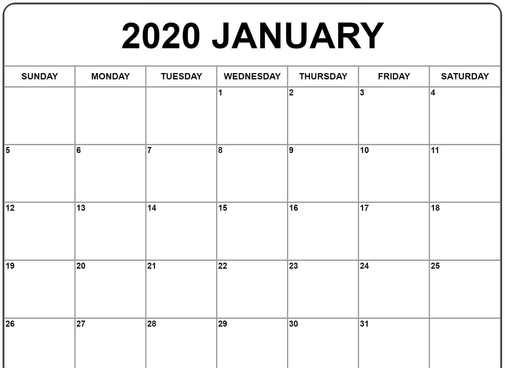 2020 January Calendar | January Calendar, Monthly Calendar within Calendar 2020 January