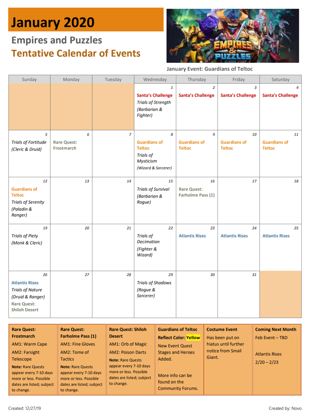 2020 January Calendar Of Events (Dates Are Tentative And within Empires And Puzzles Calendar