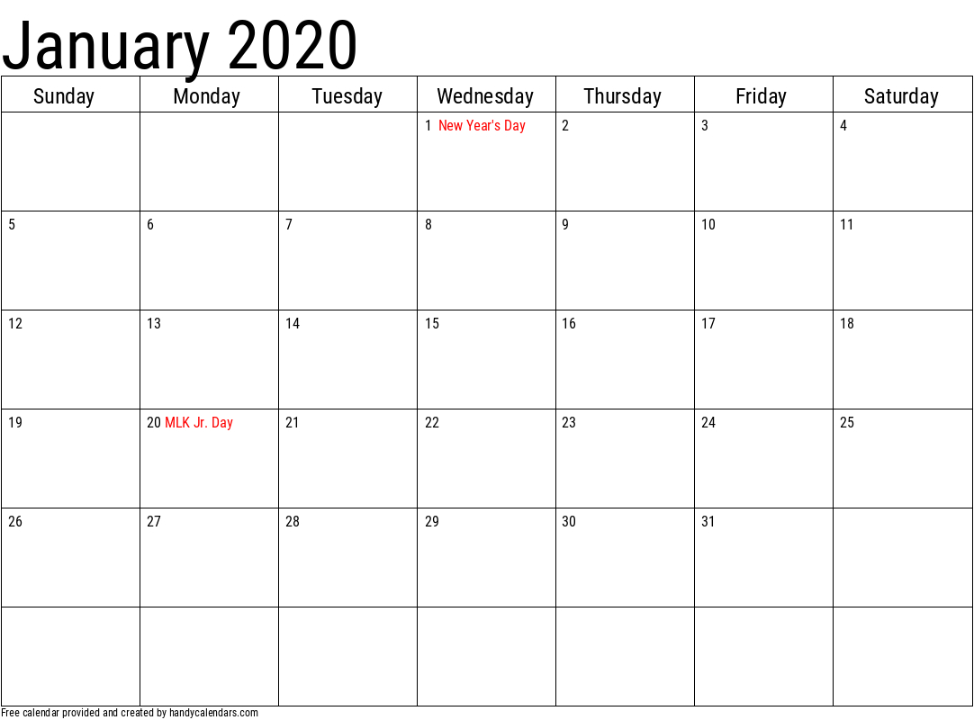 2020 January Calendars  Handy Calendars with regard to Calander January 2020