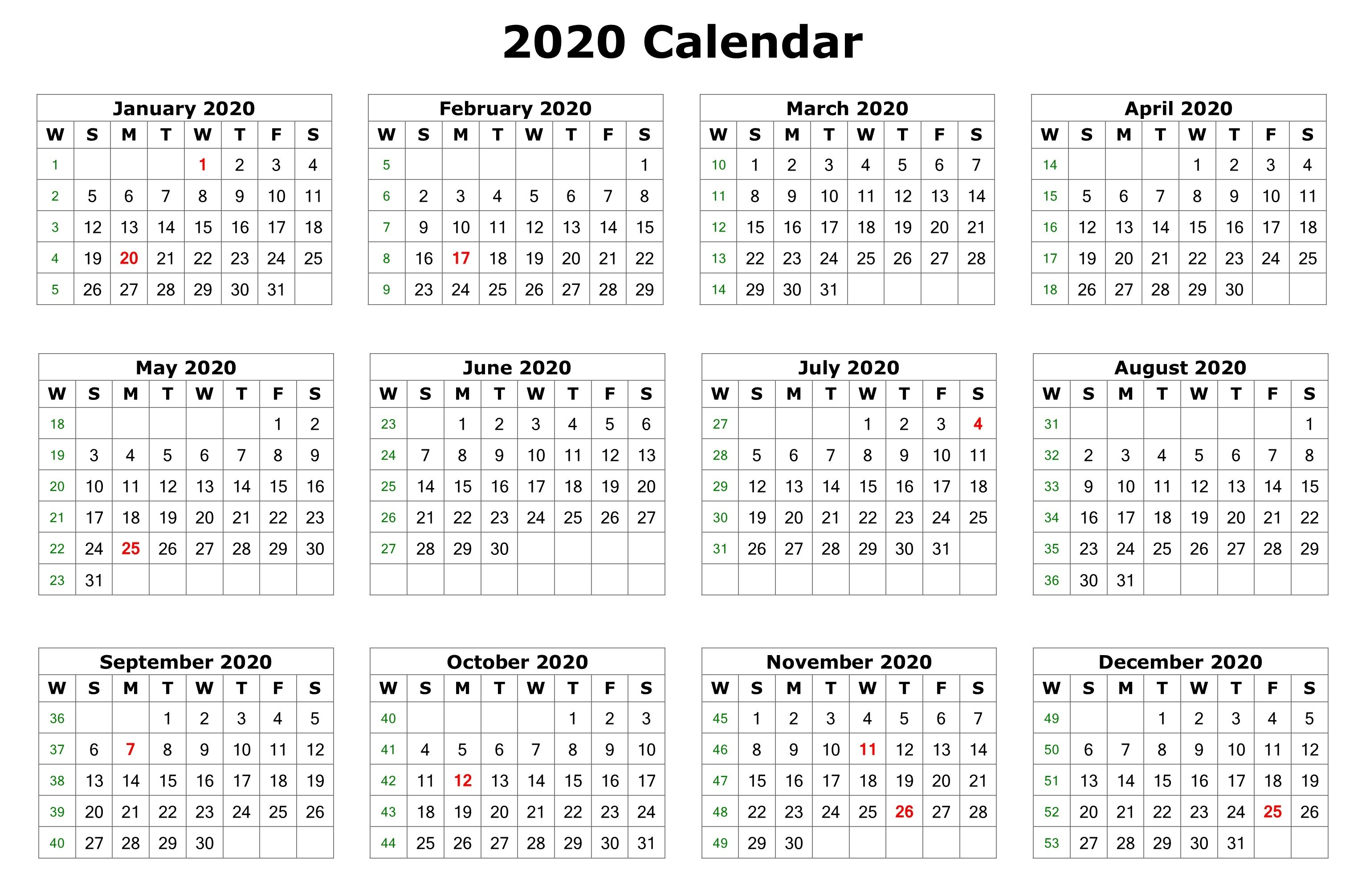 2020 One Page Calendar Printable | Calendar 2020 inside Printable 12 Month Calendar On One Page