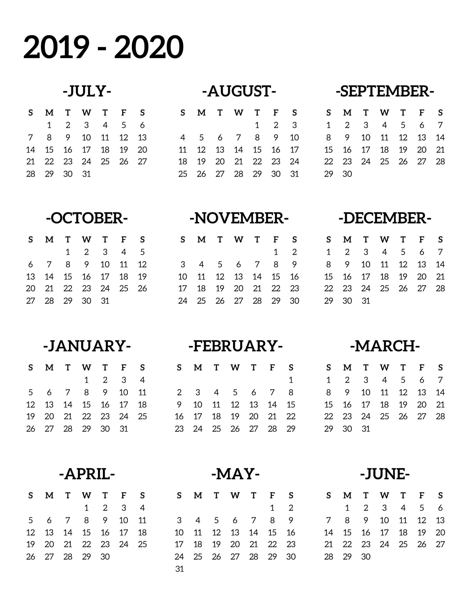 2020 One Page Calendar Printable  Yatay.horizonconsulting.co with 2020 At A Glance Calendar Printable