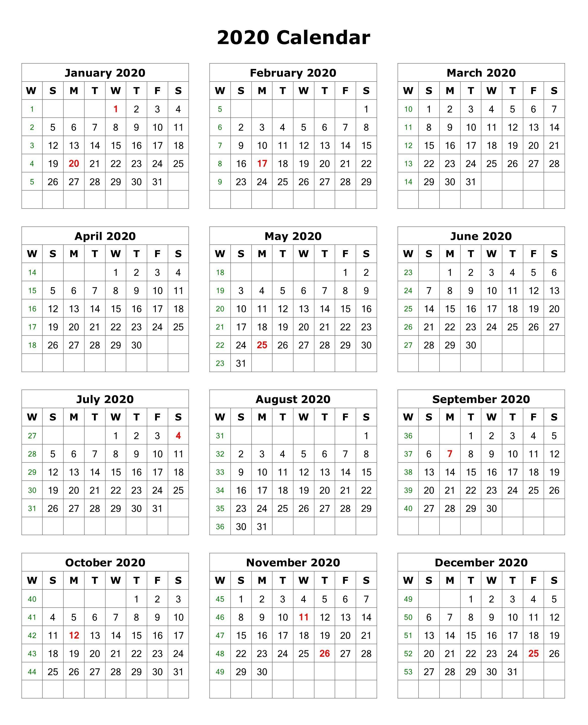 2020 One Page Portrait Calendar | Calendar Printables throughout Free Printable 2020 Attendance Calendar