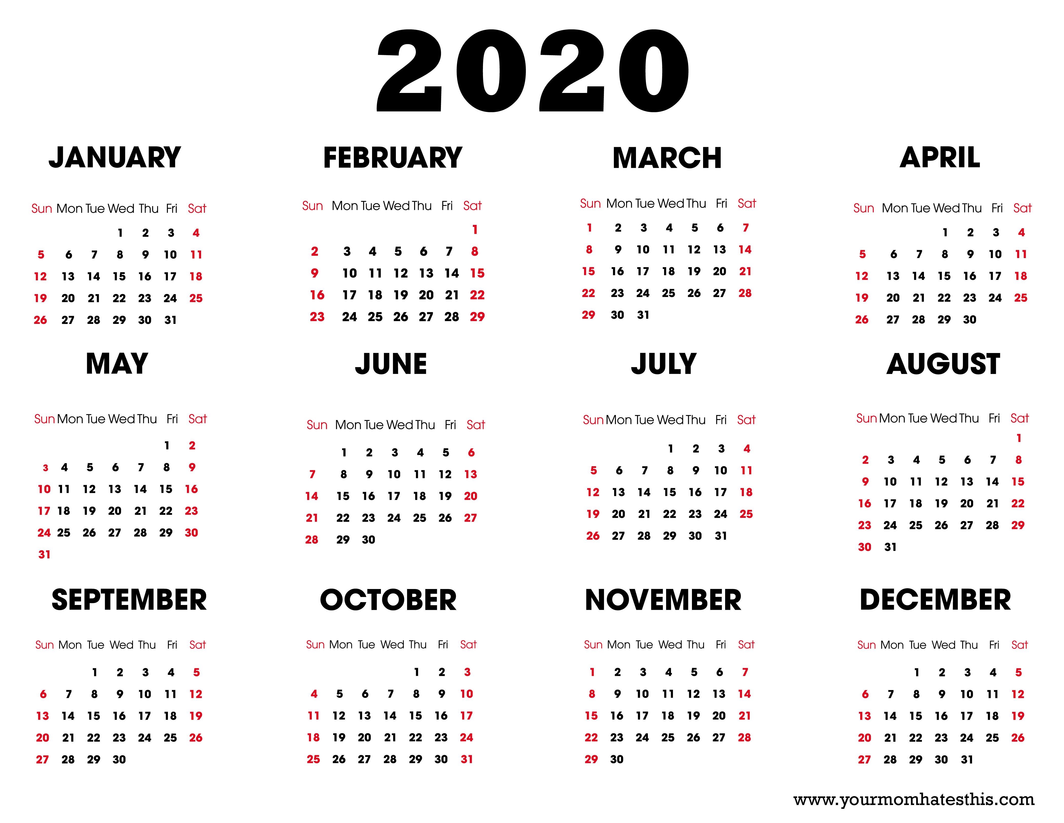 2020 Printable Calendar  Download Free Blank Templates in Blank Calendar 2020 Printable
