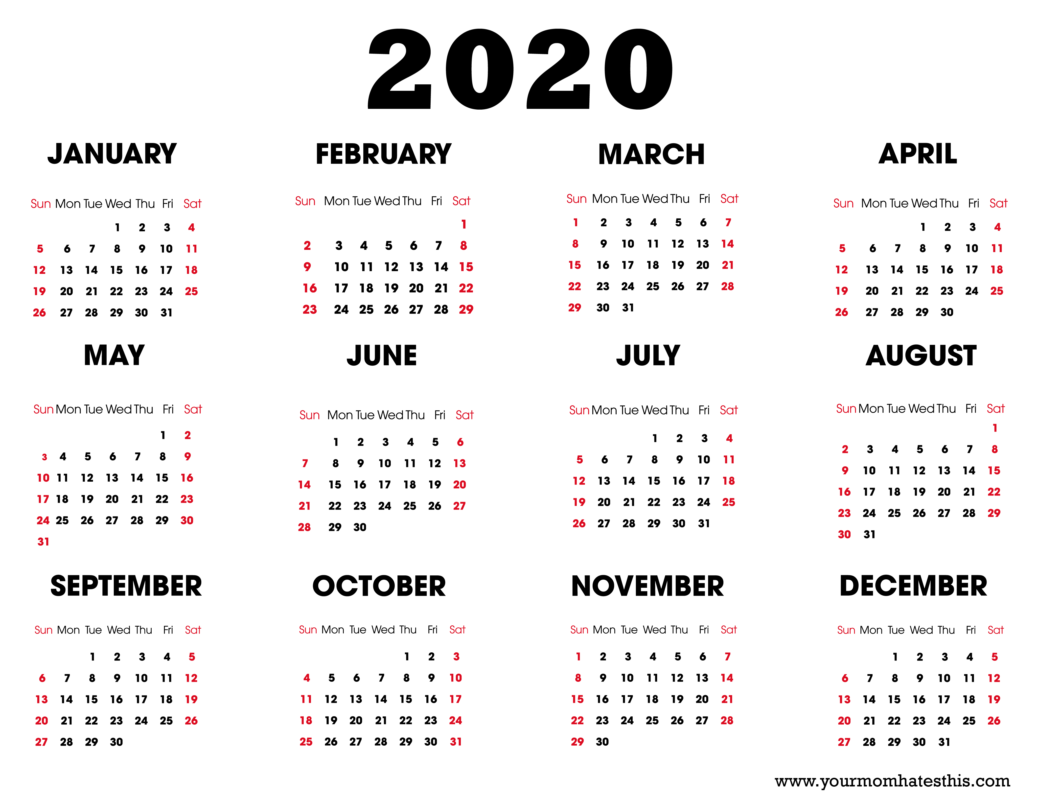 2020 Printable Calendar  Download Free Blank Templates pertaining to Printable Calander 2020