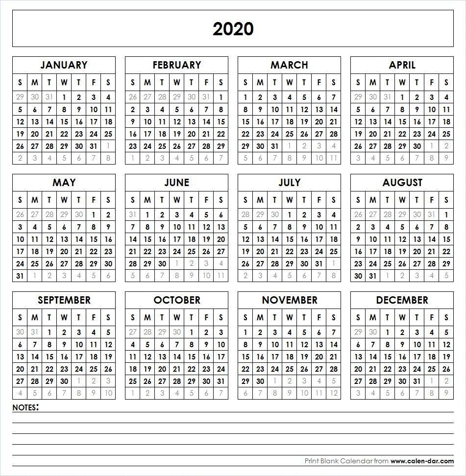 2020 Printable Calendar | Printable Yearly Calendar for Printable 12 Month 2020 Calendar