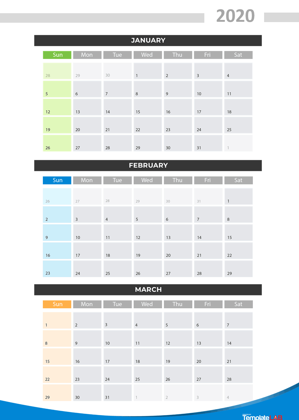 2020 Printable Calendars [Monthly, With Holidays, Yearly] ᐅ throughout 2020 Quarterly Calendar Template Excel