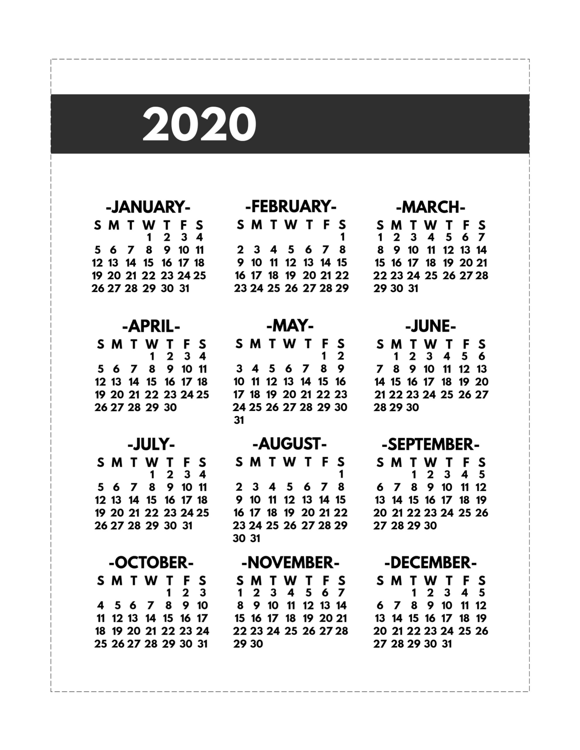 2020 Printable One Page Year At A Glance Calendar  Paper with regard to 2020 Year At A Glance Printable