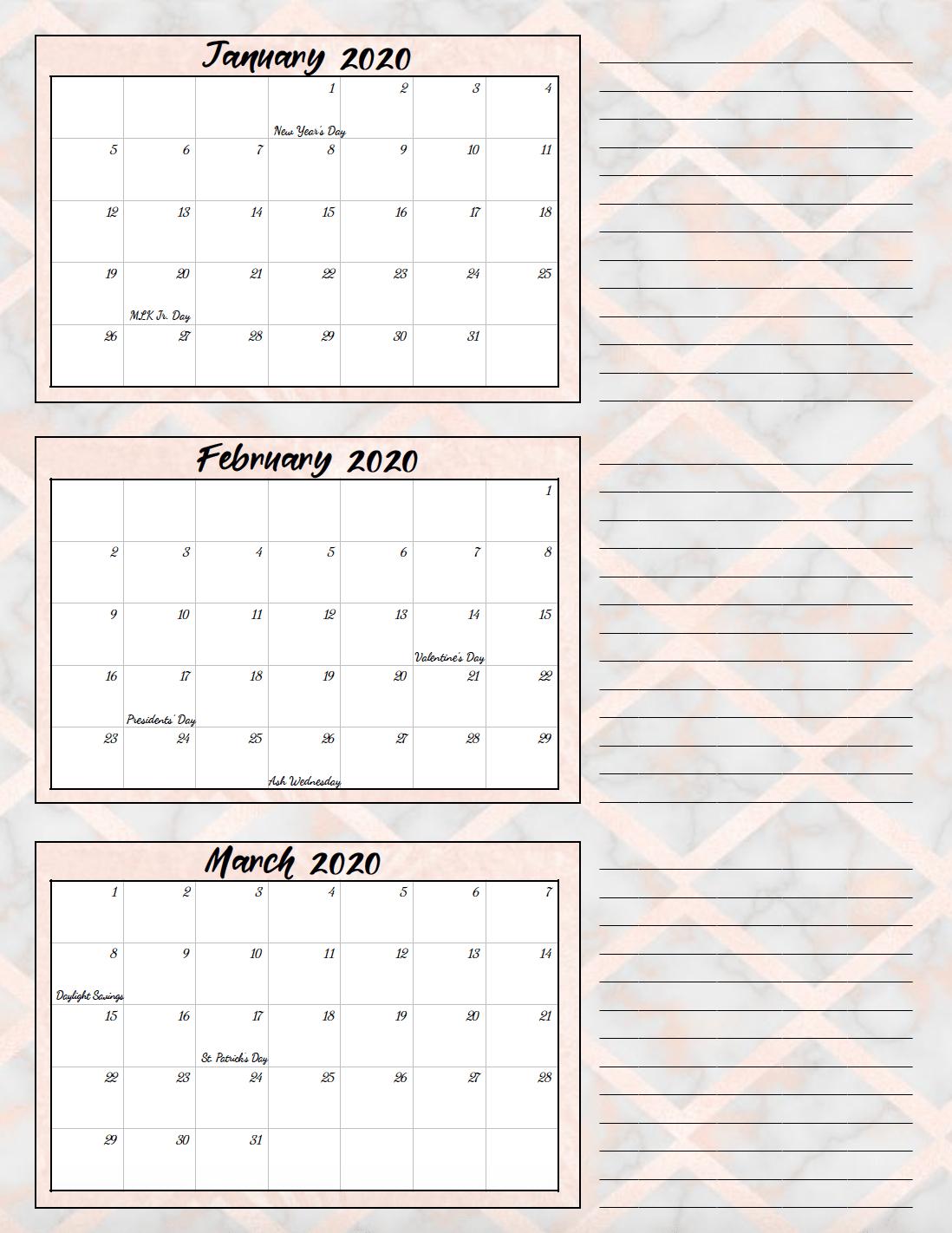 2020 Quarterly Calendar  Yatay.horizonconsulting.co inside Quarterly Calendar Template Excel