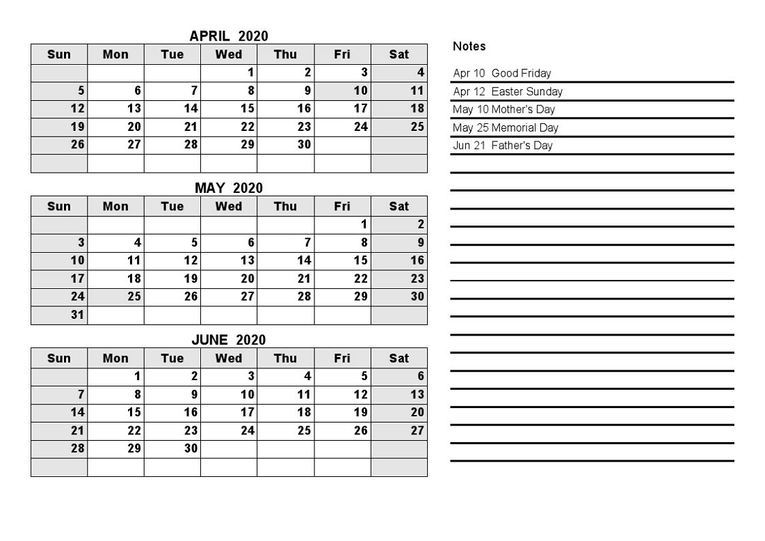 2020 Quarterly Calendar  Yatay.horizonconsulting.co throughout Quarterly Calendar Template Excel