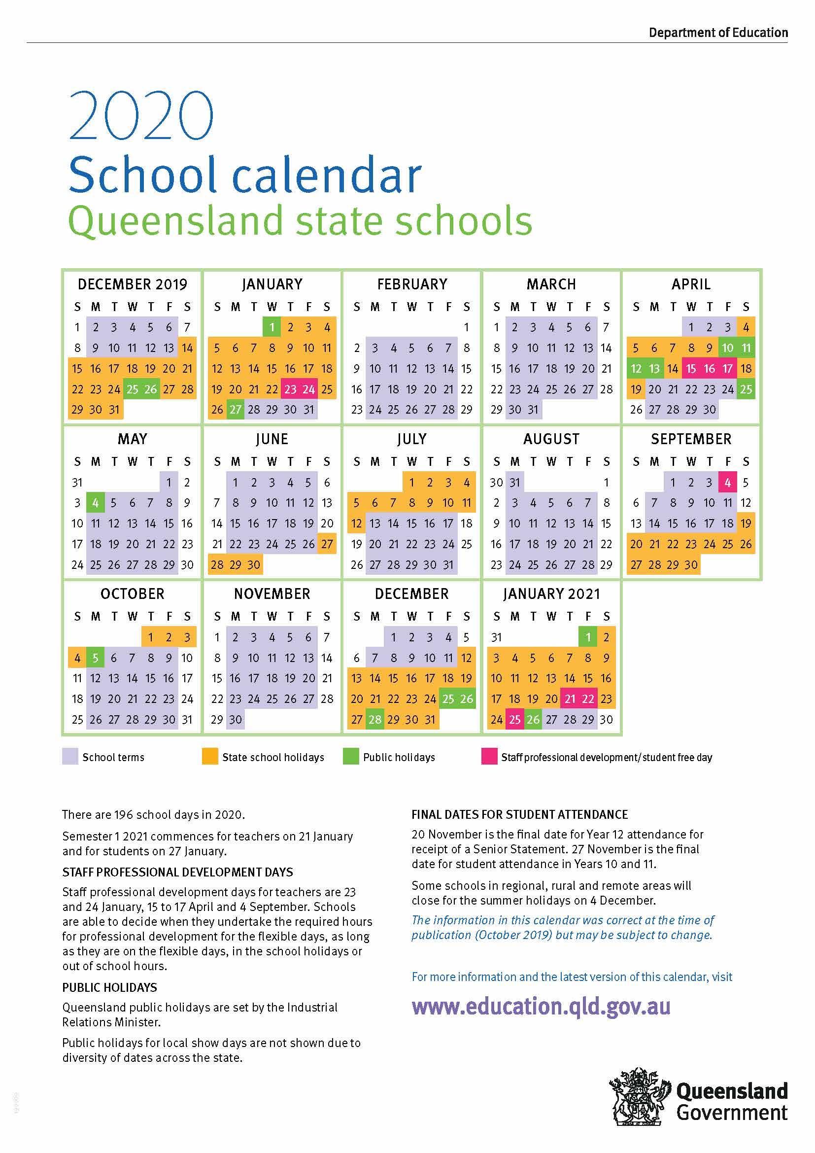 2020 Queensland State School Calendar with Calendar 2020 Qld